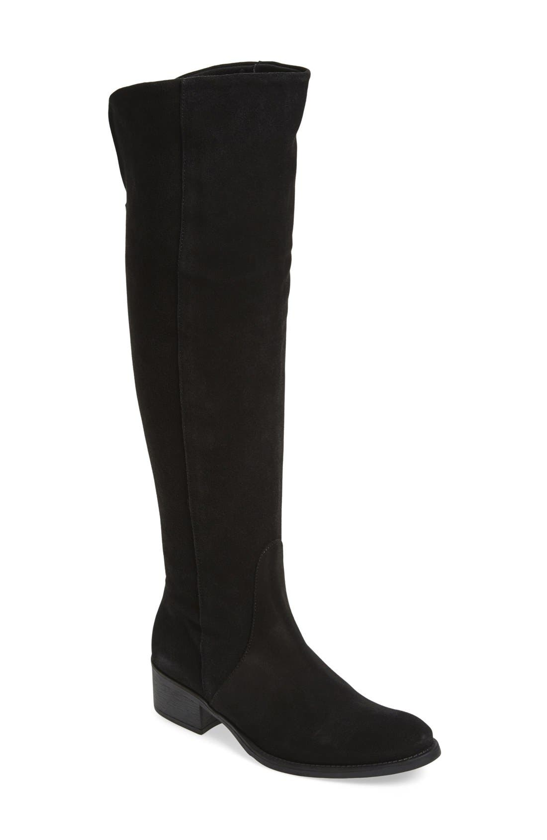 'Tallin' Over-The-Knee Riding Boot,                             Main thumbnail 1, color,                             BLACK SUEDE