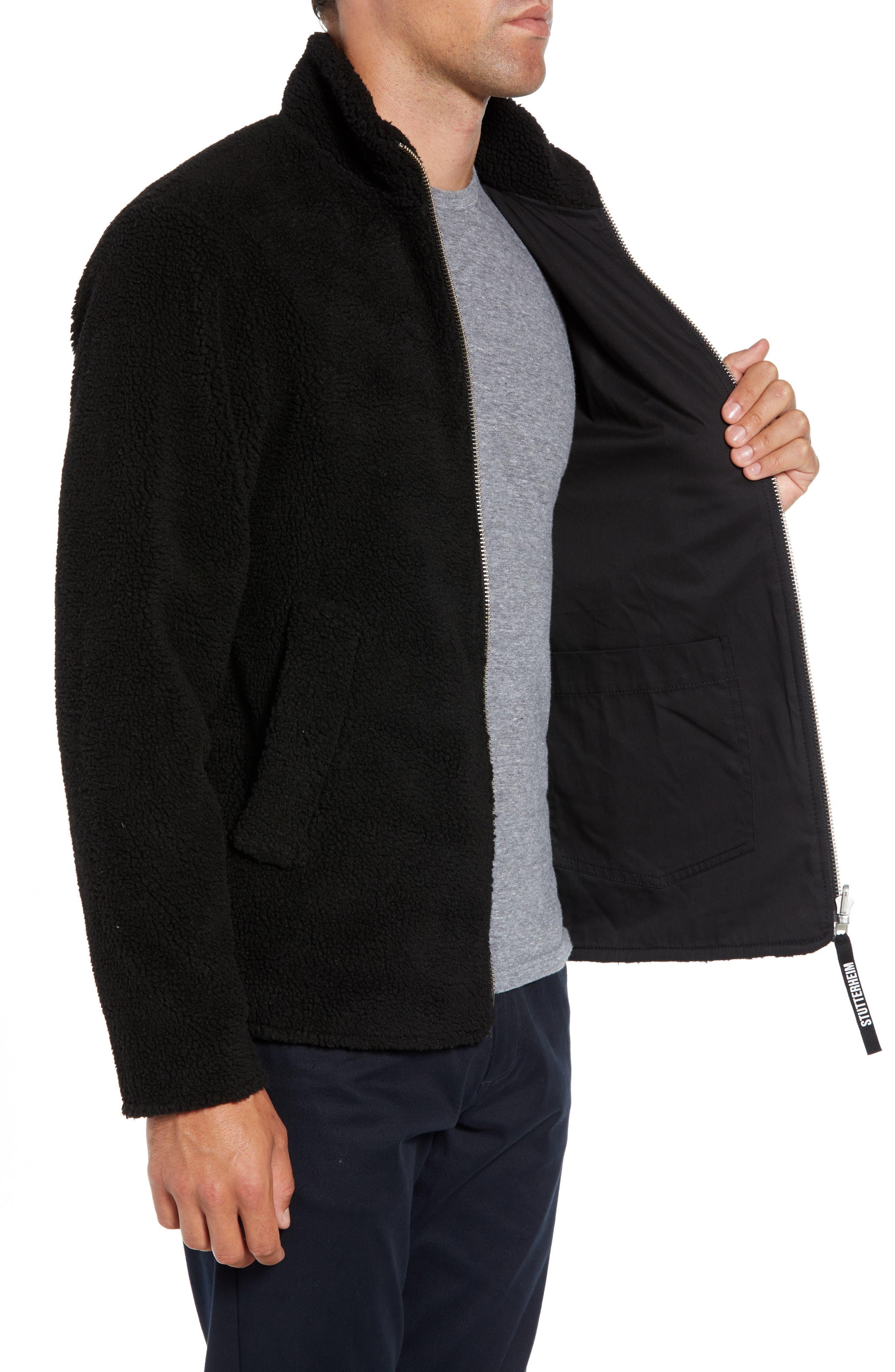 Varby Reversible Fleece Jacket,                             Alternate thumbnail 4, color,                             BLACK