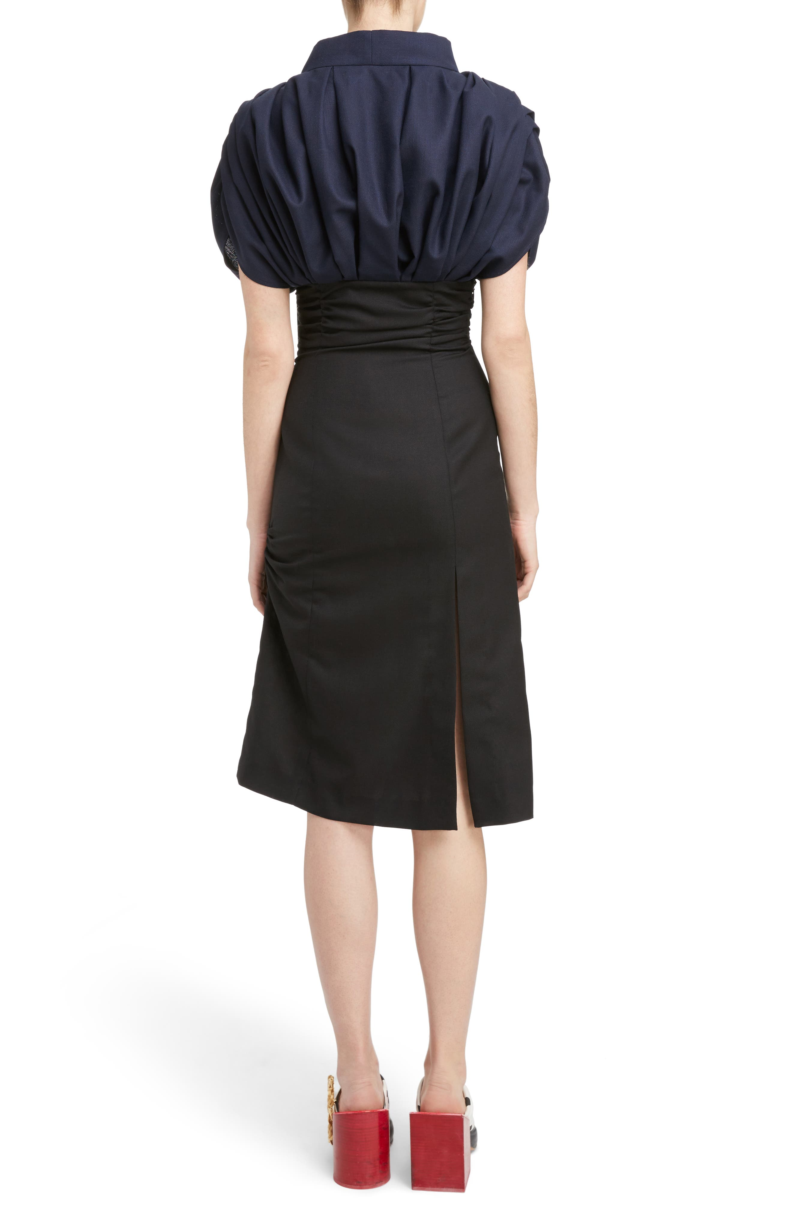 Ruched Tie Neck Dress,                             Alternate thumbnail 2, color,                             001