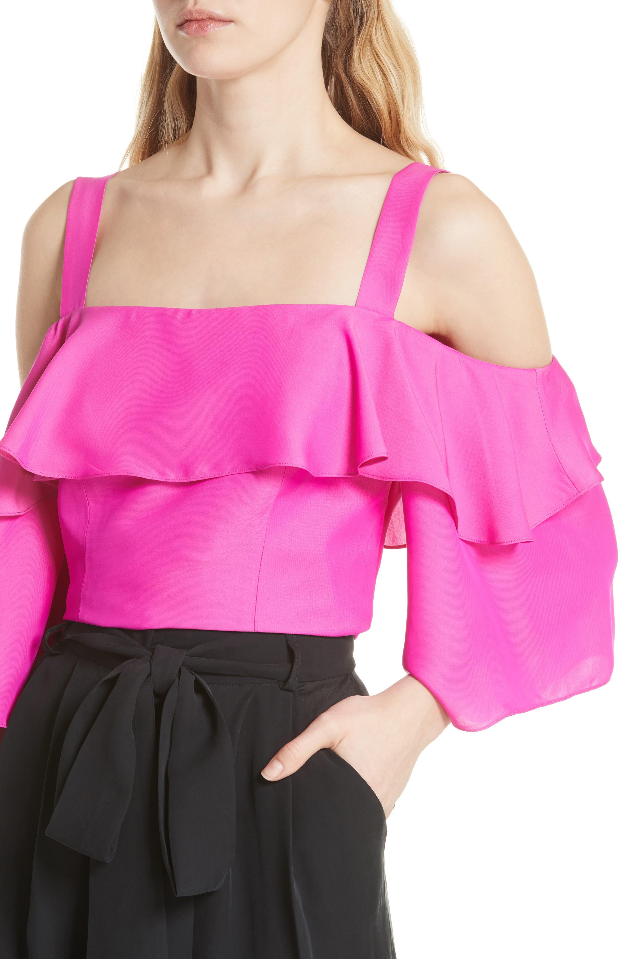 Audrey Ruffled Cold Shoulder Silk Top,                             Alternate thumbnail 4, color,                             670
