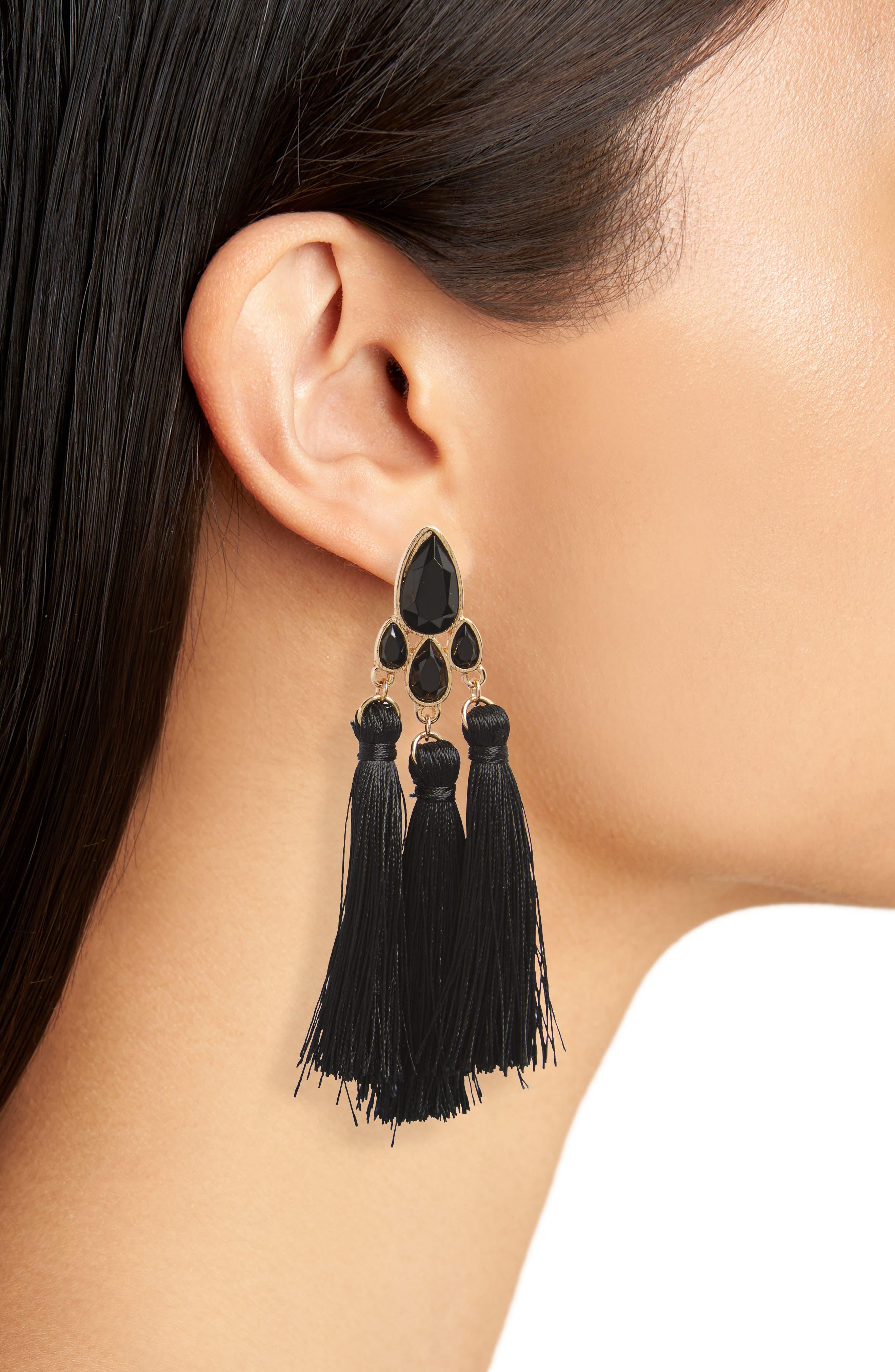 Fringe Drop Statement Earrings,                             Alternate thumbnail 2, color,