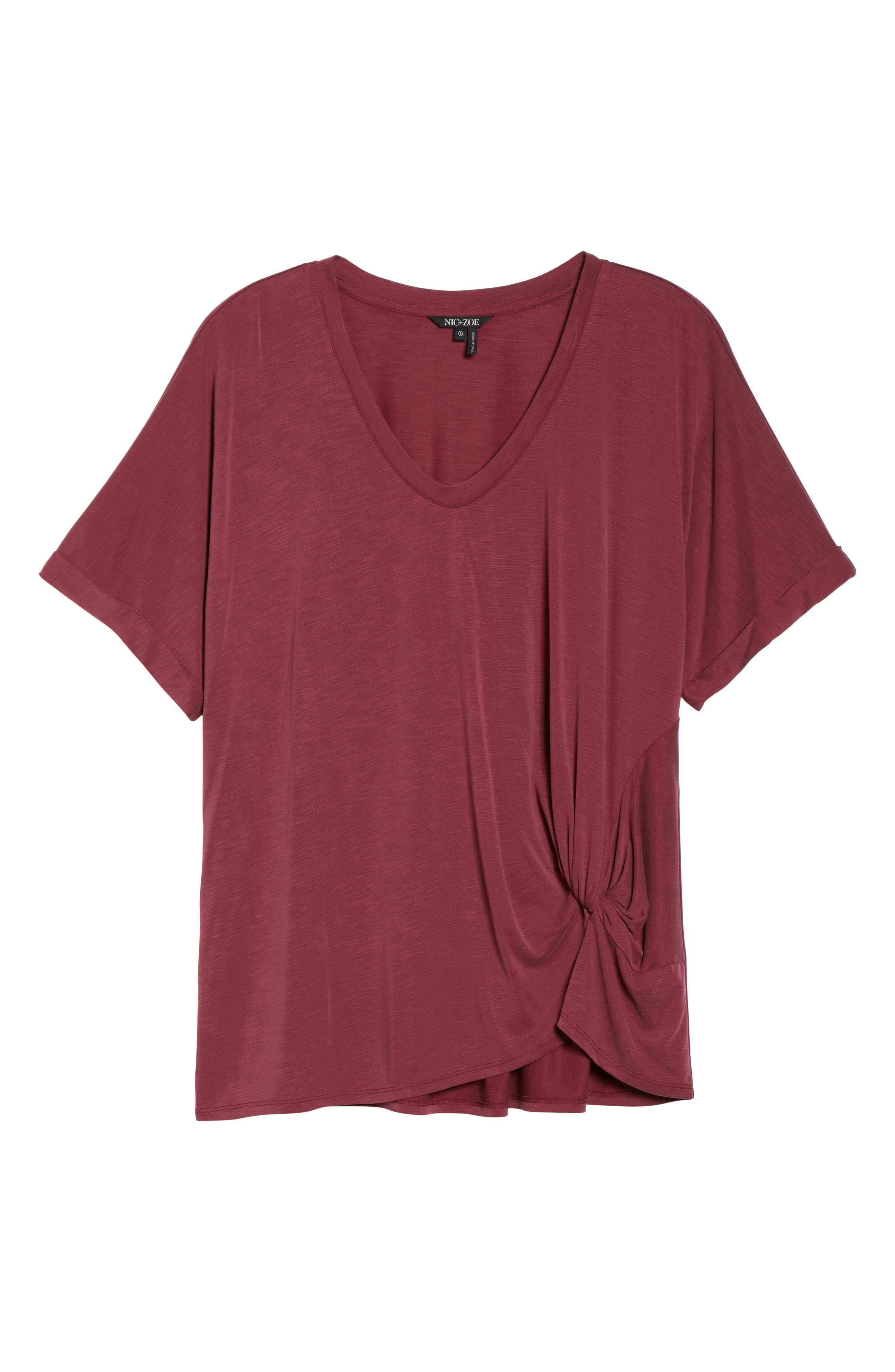 NIC+ZOE,                             Boardwalk Tee,                             Alternate thumbnail 6, color,                             WASHED RAISIN