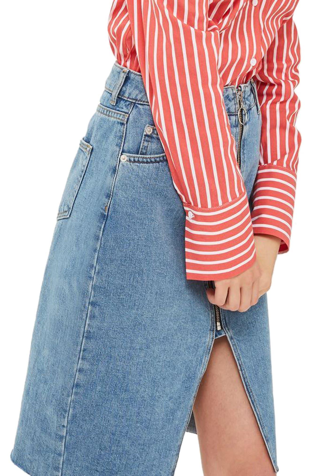 Zip Denim Skirt,                             Main thumbnail 1, color,                             400