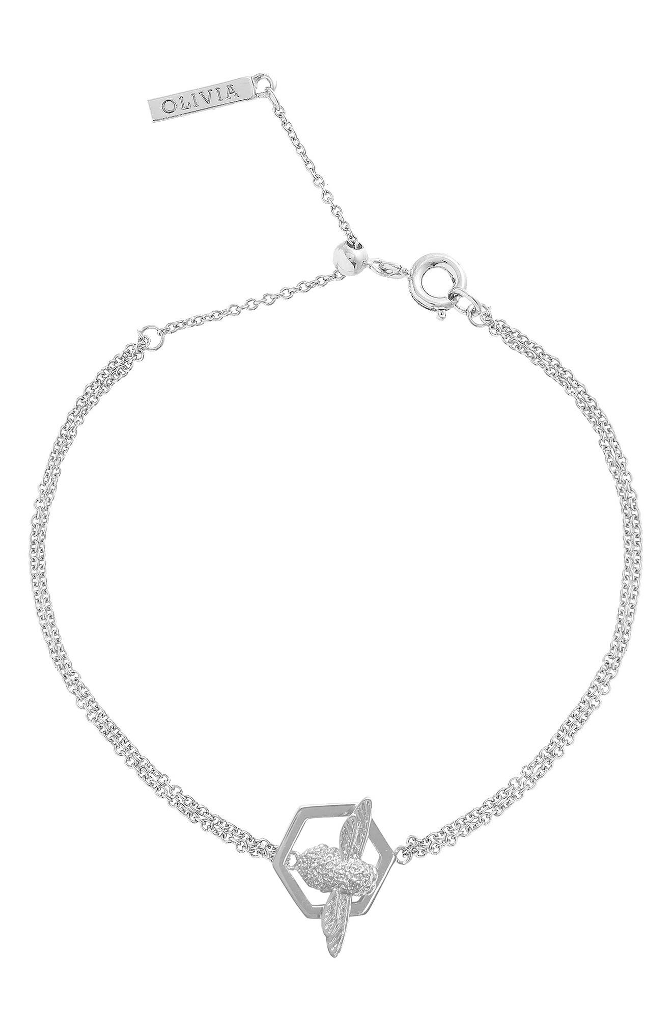 Honeycomb Bee Chain Bracelet,                             Alternate thumbnail 4, color,                             SILVER