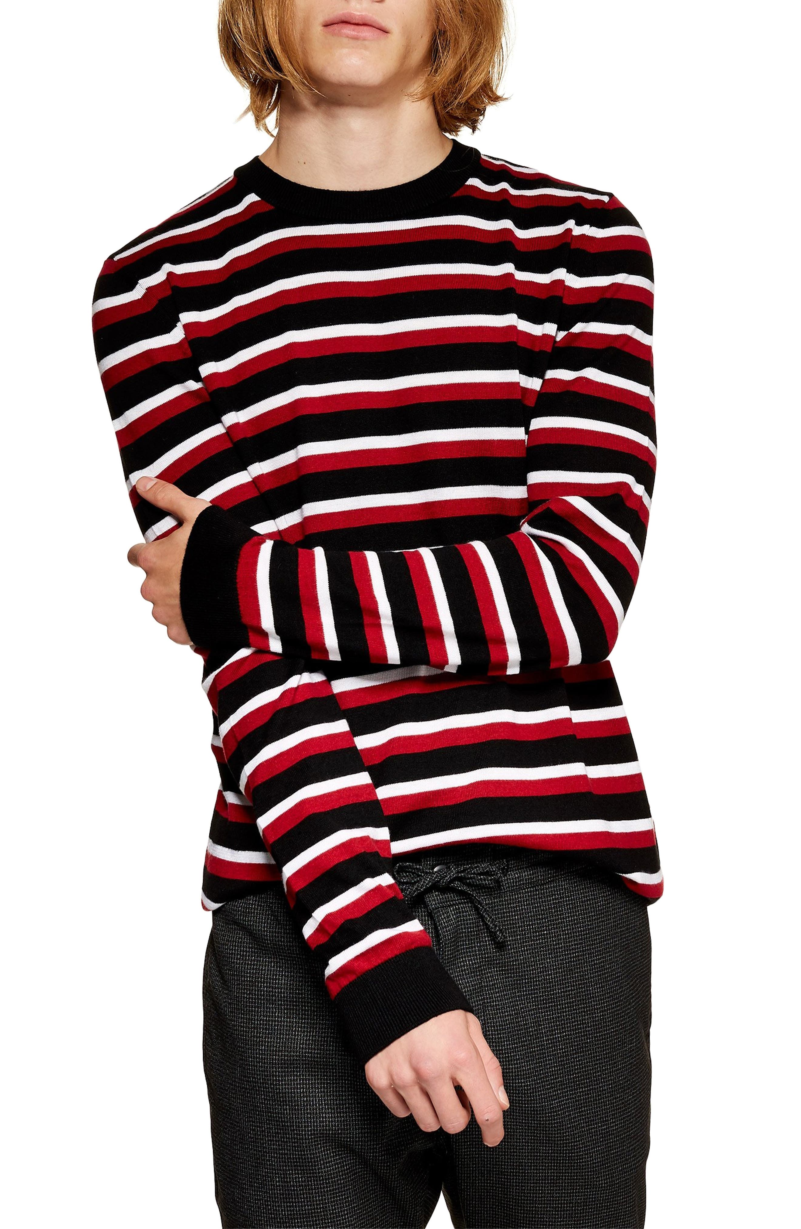 Stripe Crewneck Sweater,                             Main thumbnail 1, color,                             RED MULTI