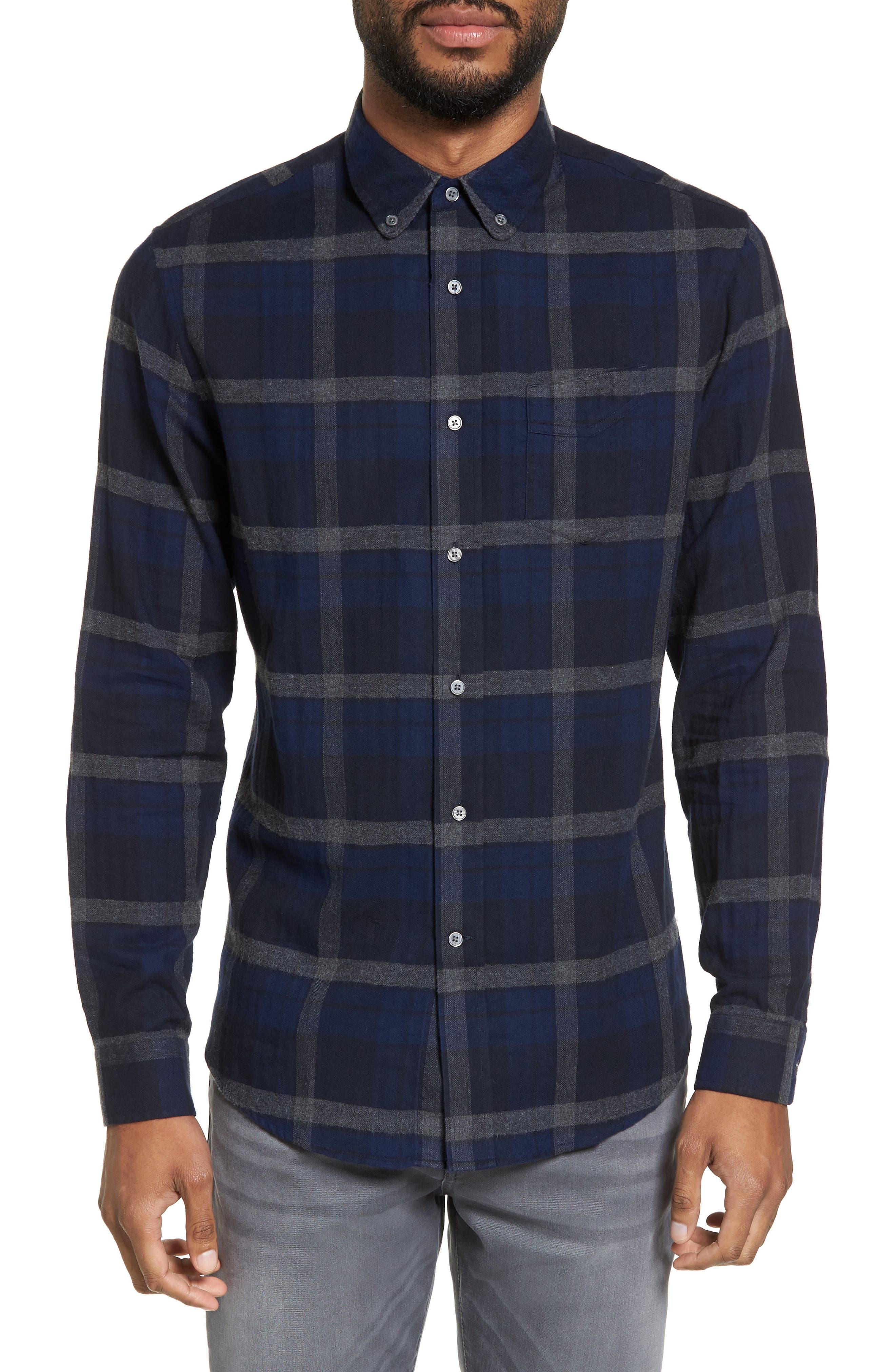 Trim Fit Plaid Flannel Sport Shirt,                         Main,                         color, 473