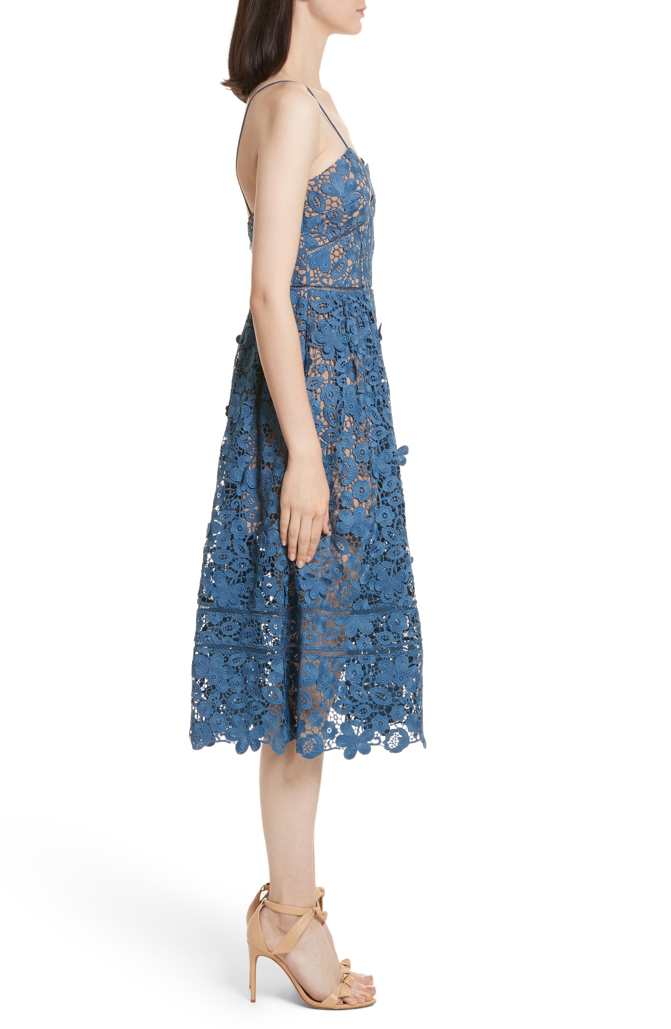 Azaelea 3D Lace Fit & Flare Dress,                             Alternate thumbnail 3, color,                             SLATE BLUE