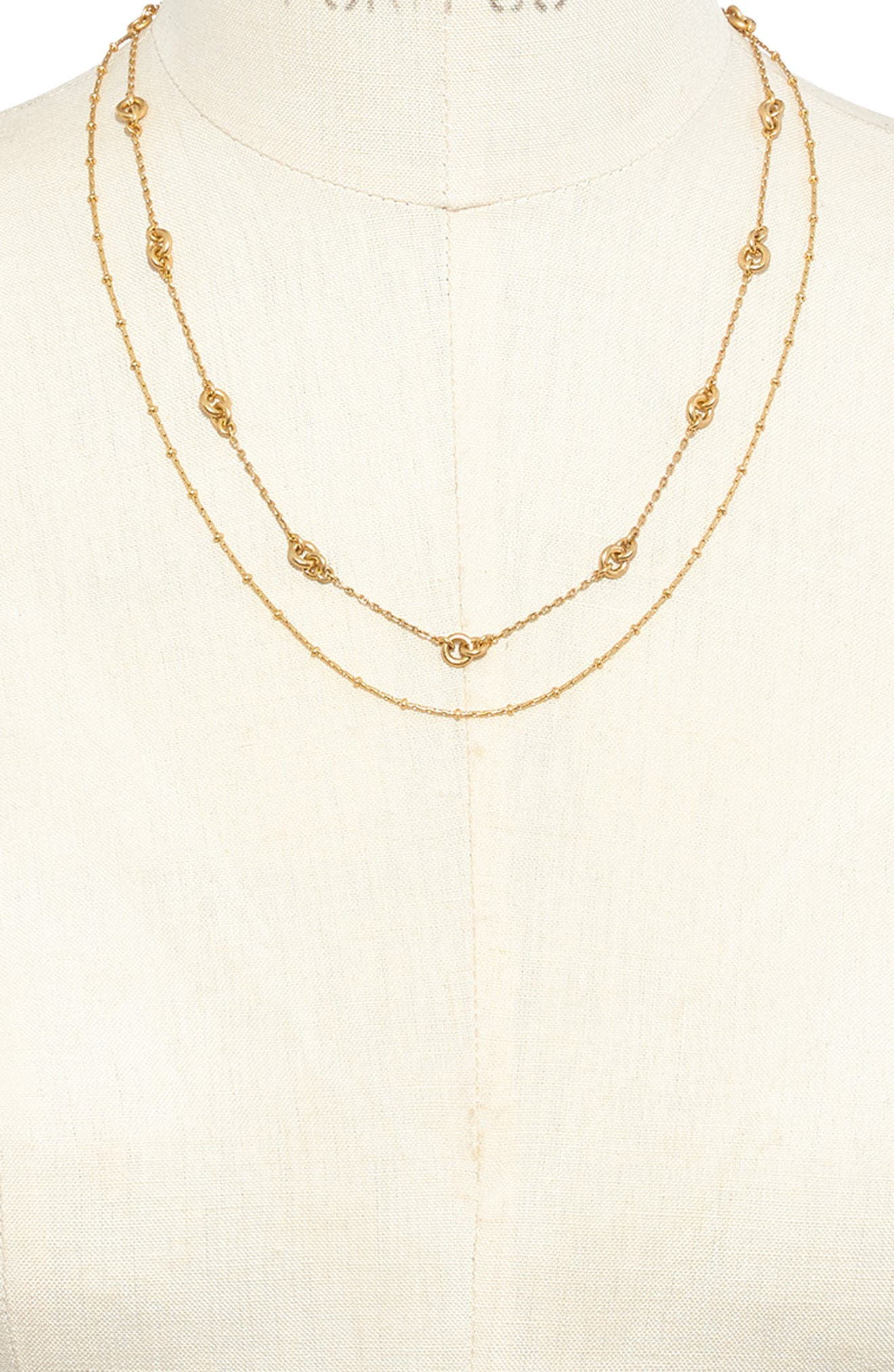 Layered Chain Necklace,                             Alternate thumbnail 2, color,                             VINTAGE GOLD