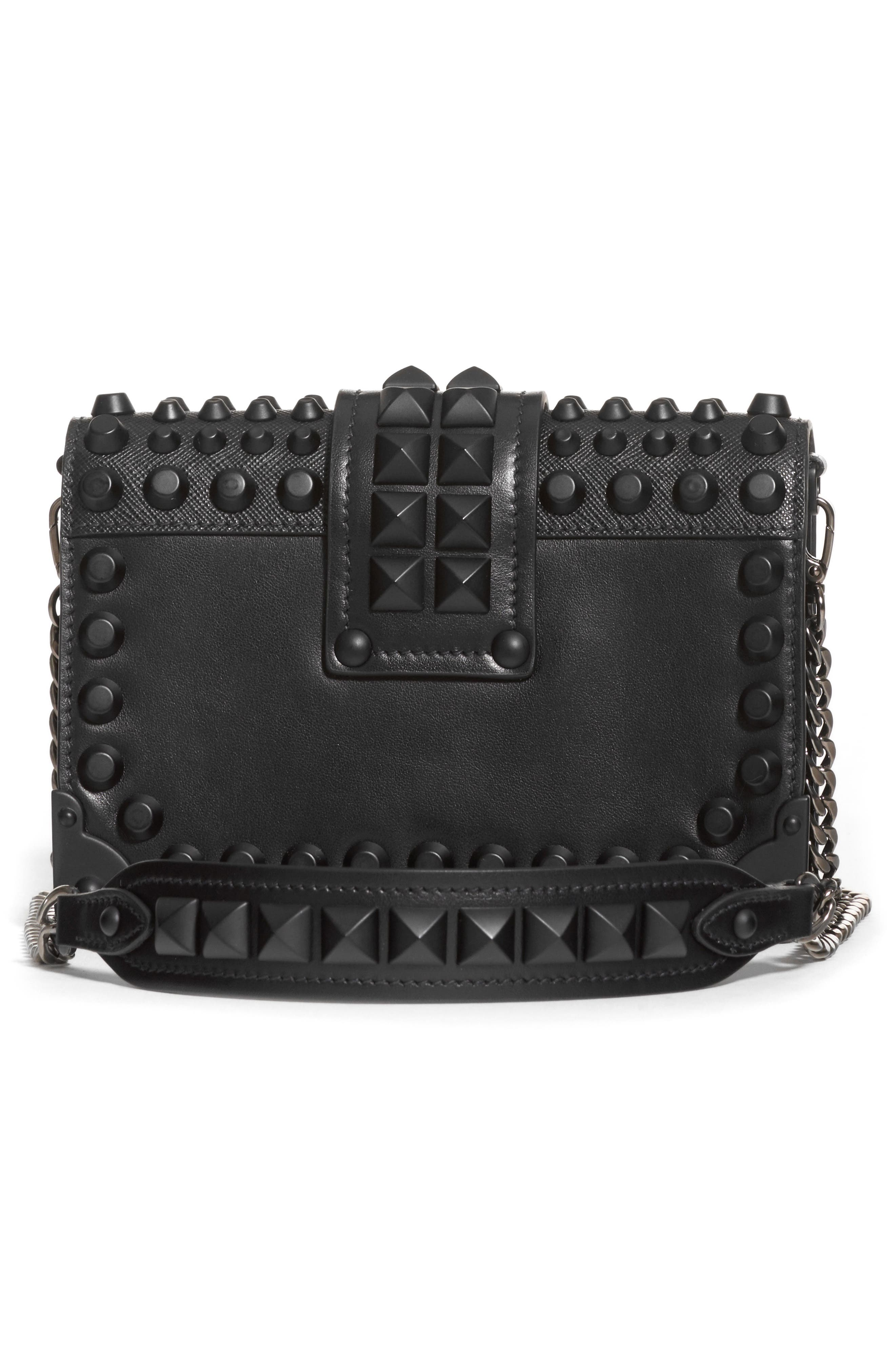PRADA,                             Cahier Studded Leather Crossbody Bag,                             Alternate thumbnail 2, color,                             NERO/ NERO