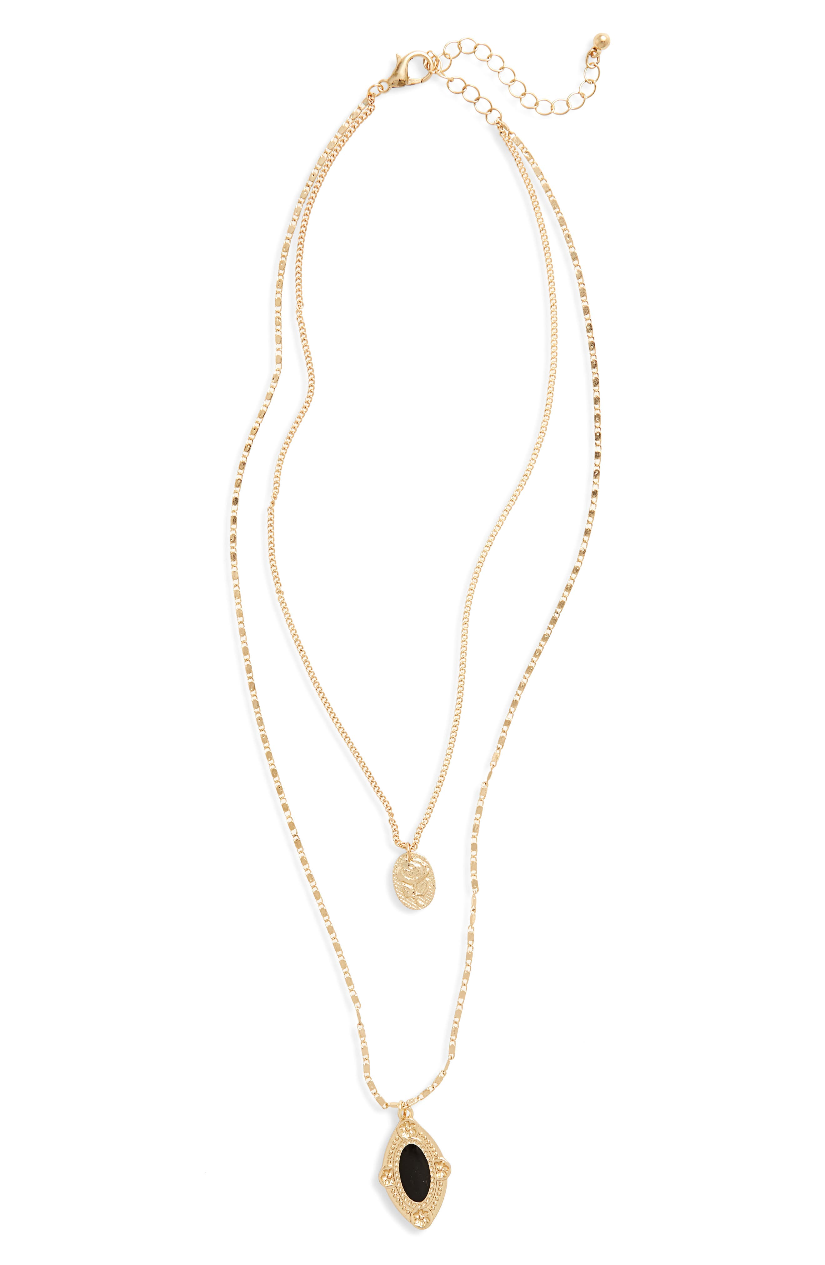 Layered Medallion Necklace,                         Main,                         color, 710