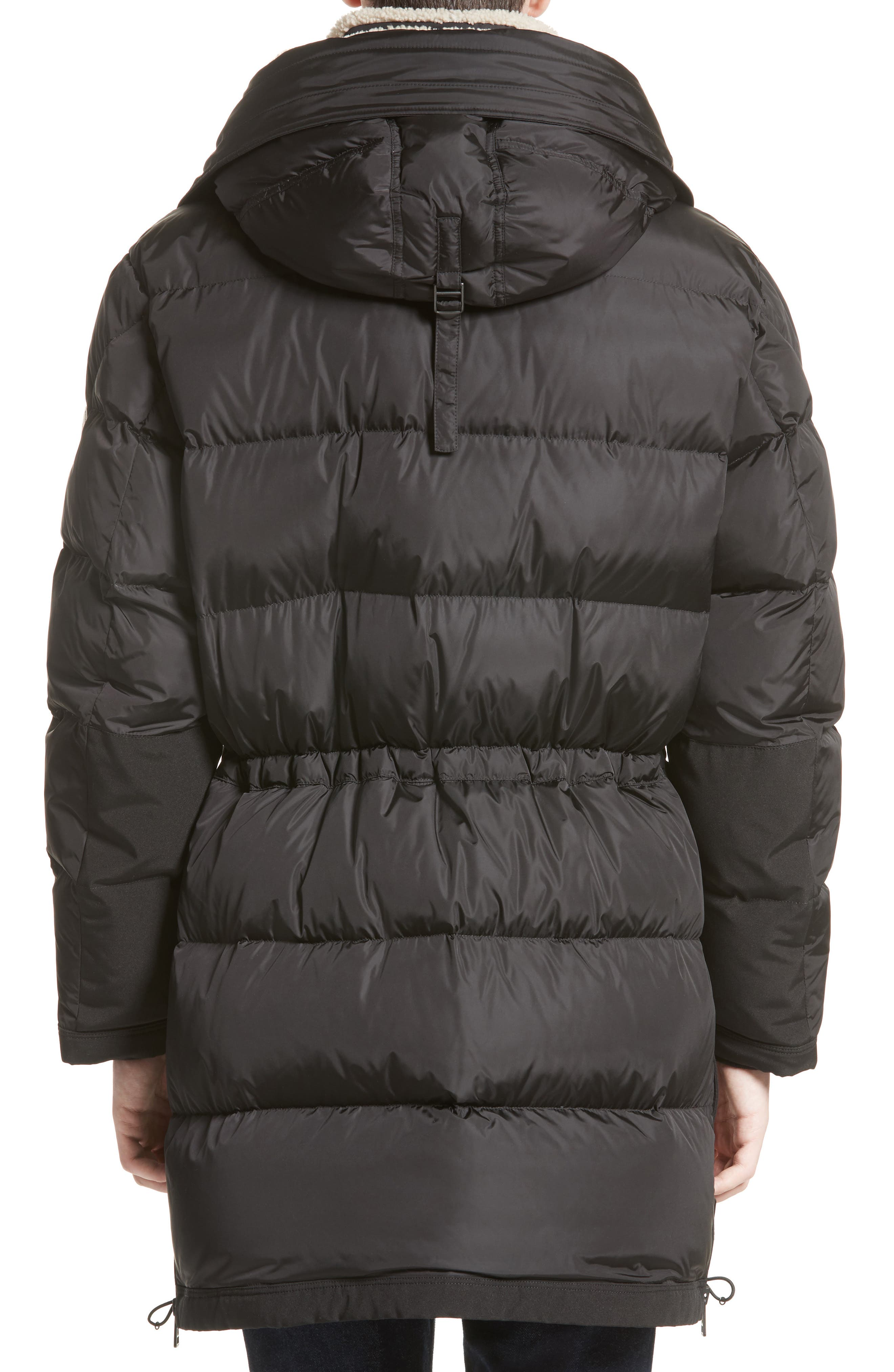 Loic High Neck Down Coat with Genuine Shearling Trim,                             Alternate thumbnail 2, color,                             001