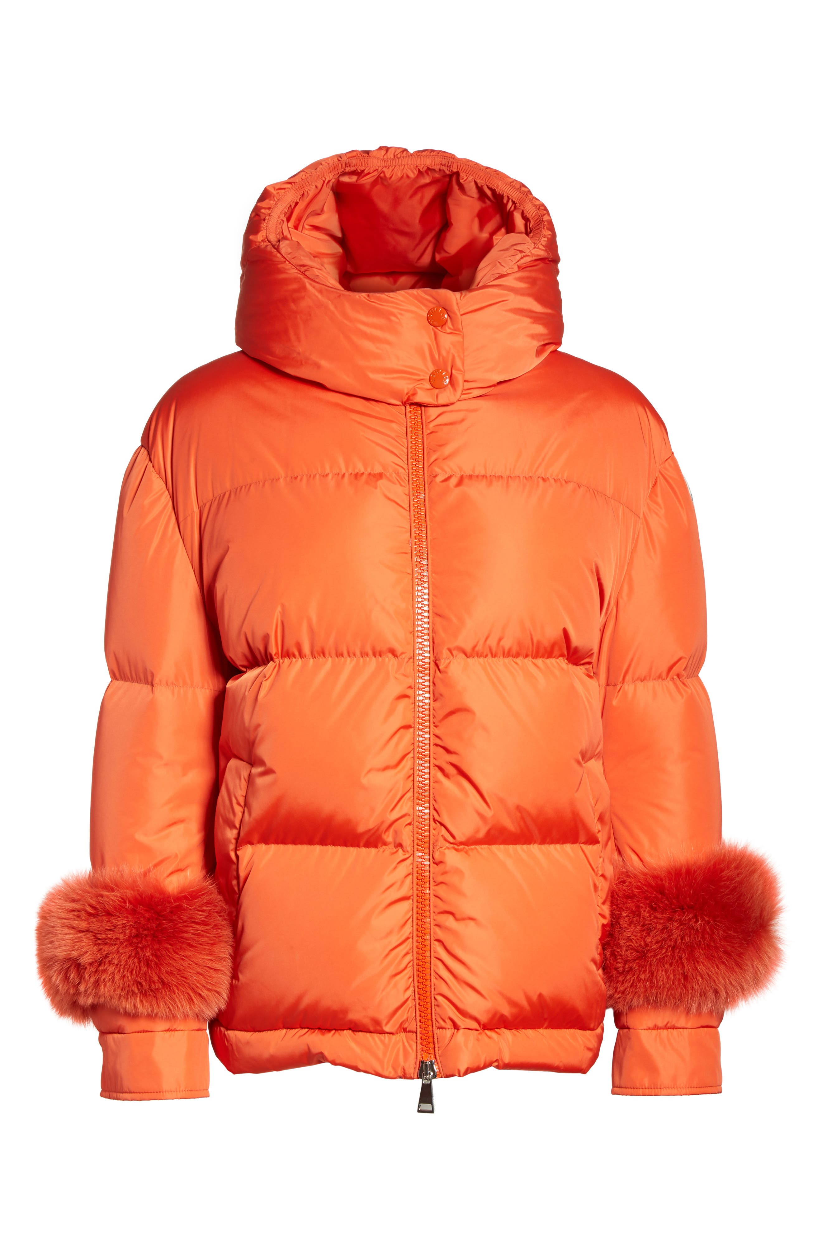MONCLER,                             Effraie Hooded Down Coat with Removable Genuine Fox Fur Cuffs,                             Alternate thumbnail 6, color,                             ORANGE