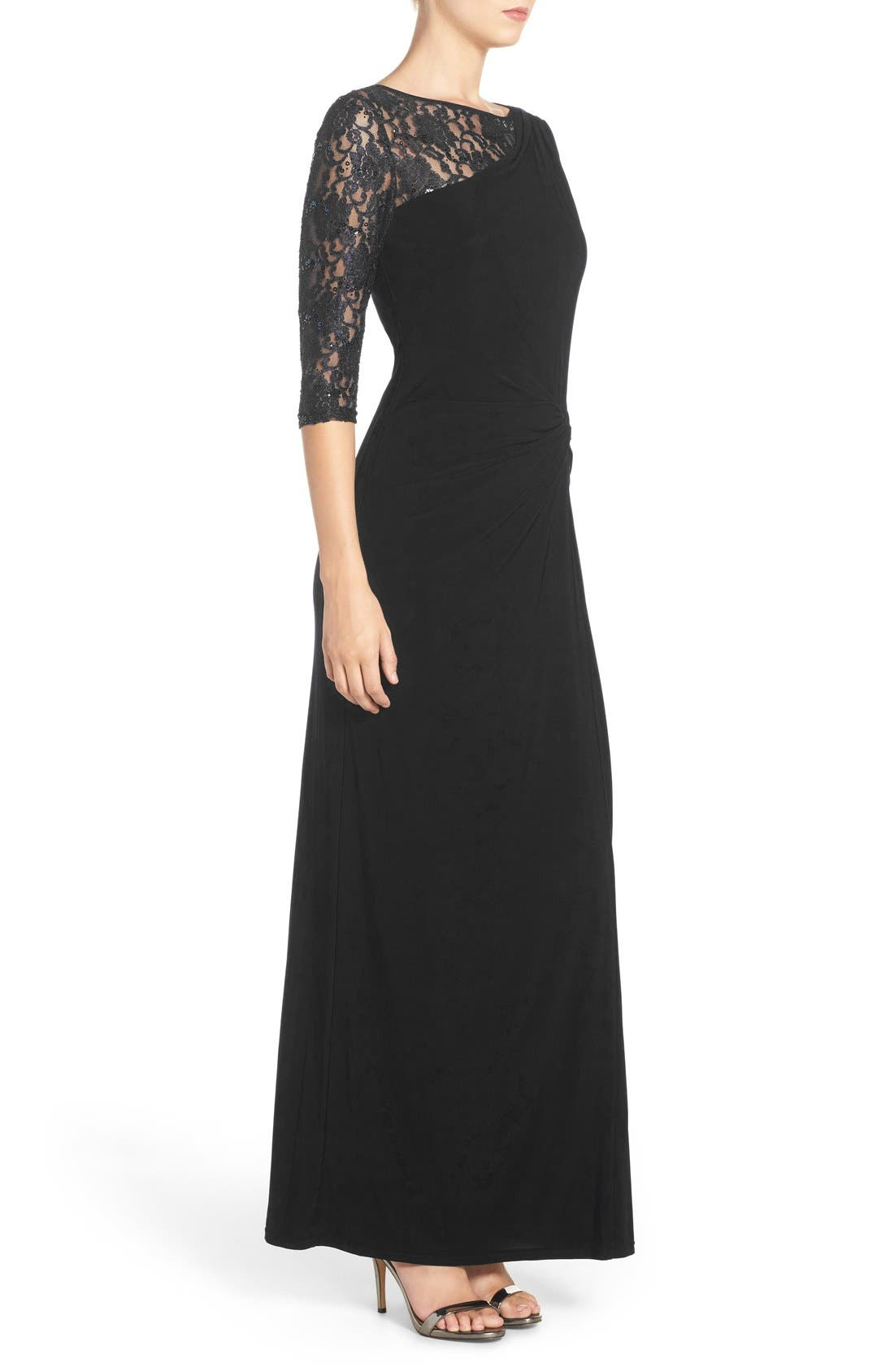 Sequin Lace & Jersey Gown,                             Alternate thumbnail 3, color,                             001