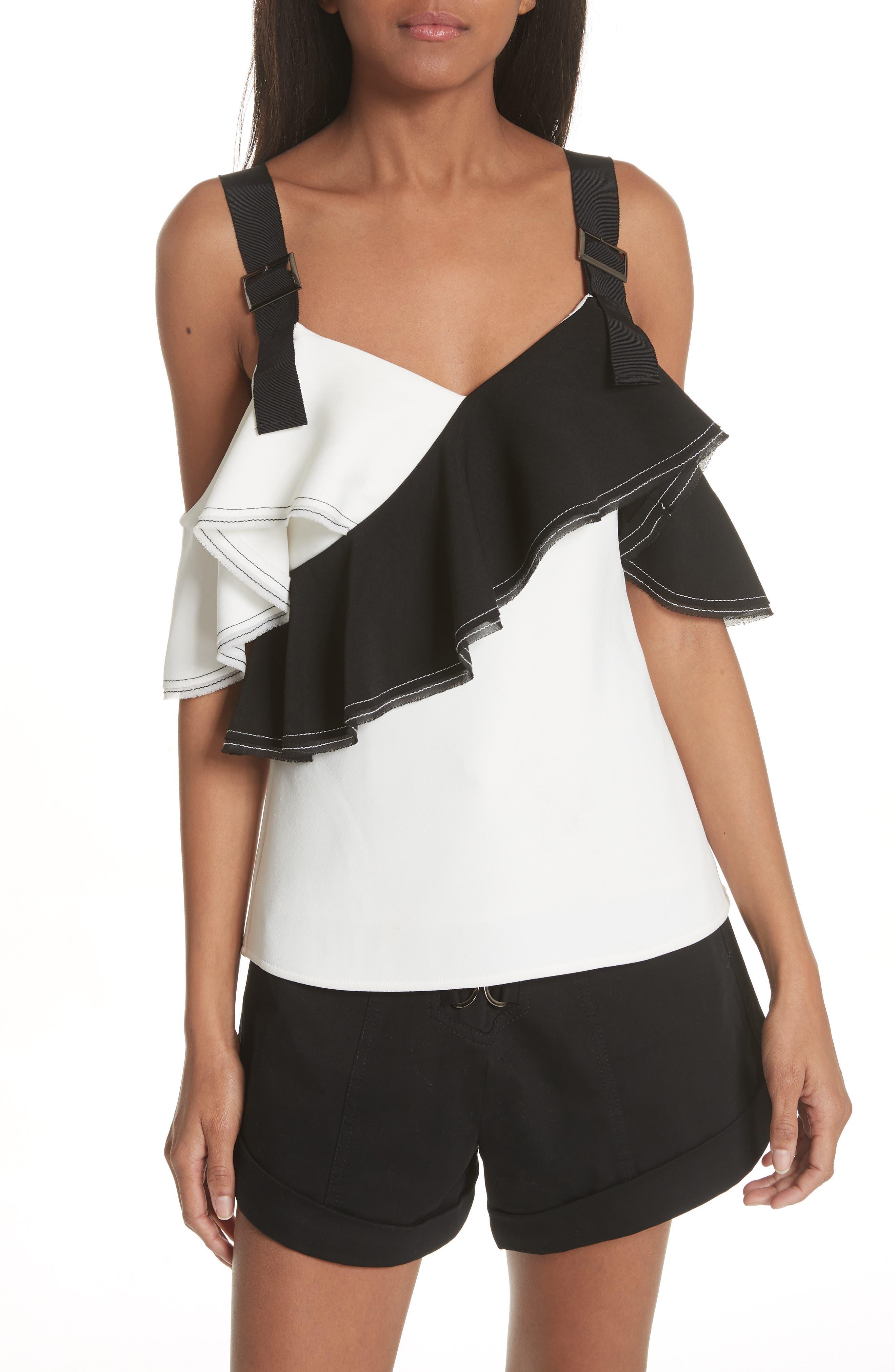 Harness Strap Cold Shoulder Blouse,                             Main thumbnail 1, color,                             BLACK/ WHITE