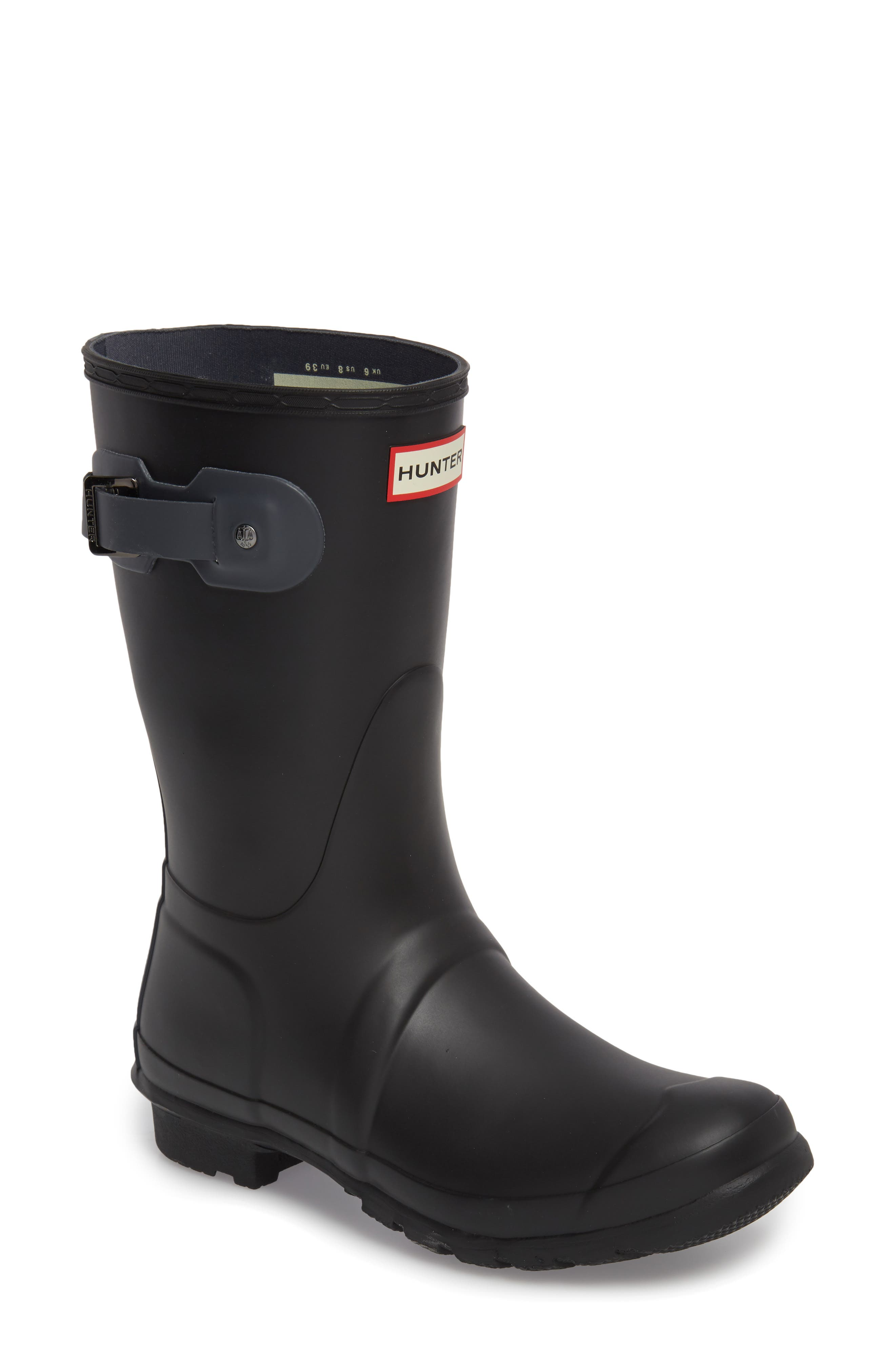 HUNTER,                             Original Short Waterproof Rain Boot,                             Main thumbnail 1, color,                             001