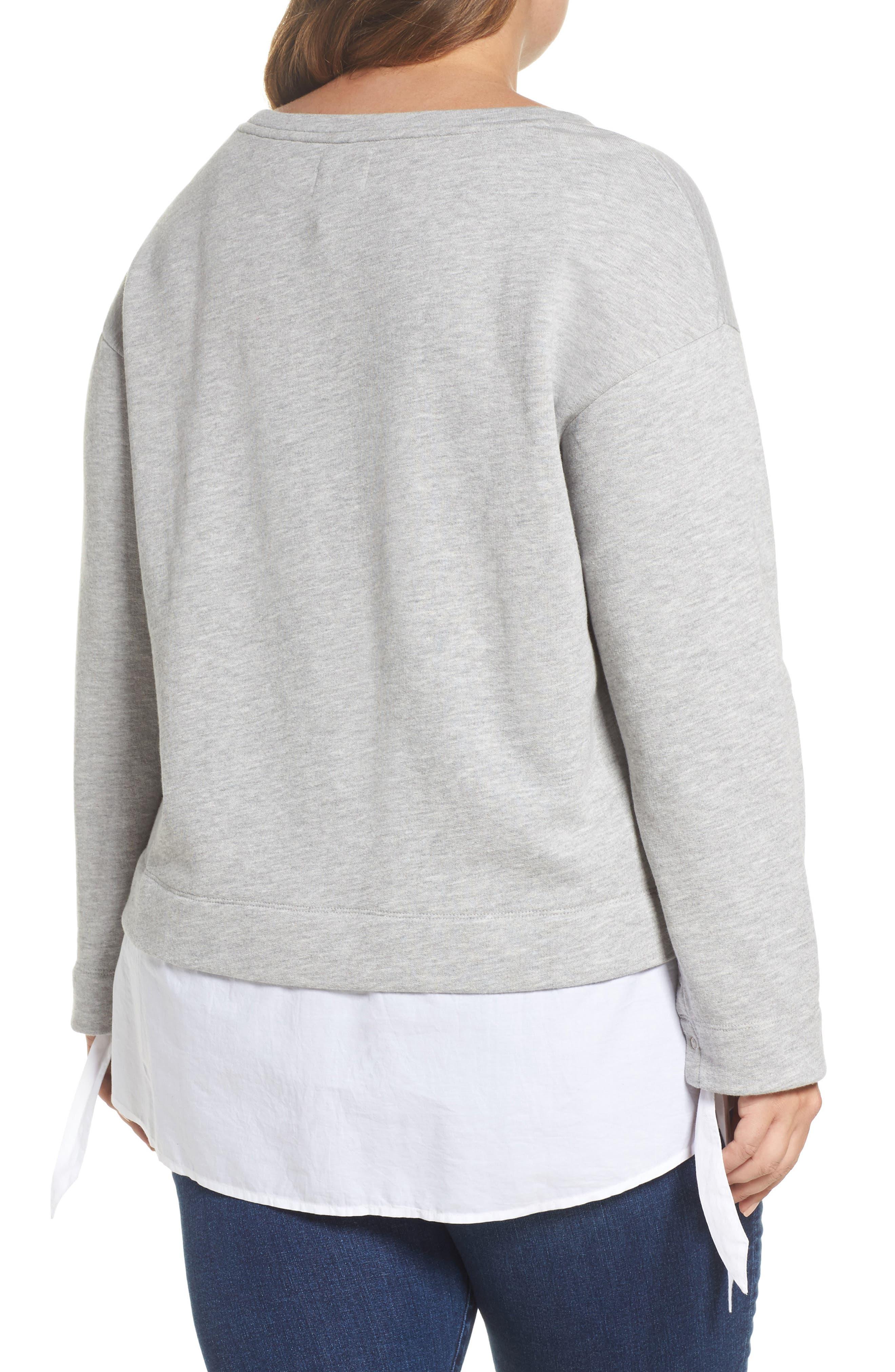 Woven Hem Sweatshirt,                             Alternate thumbnail 2, color,                             030