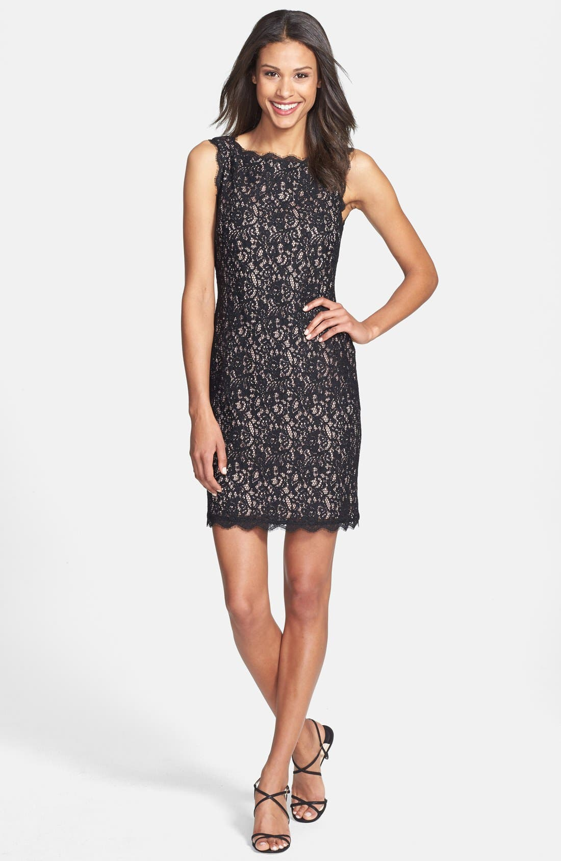 Boatneck Lace Sheath Dress,                             Alternate thumbnail 10, color,                             015