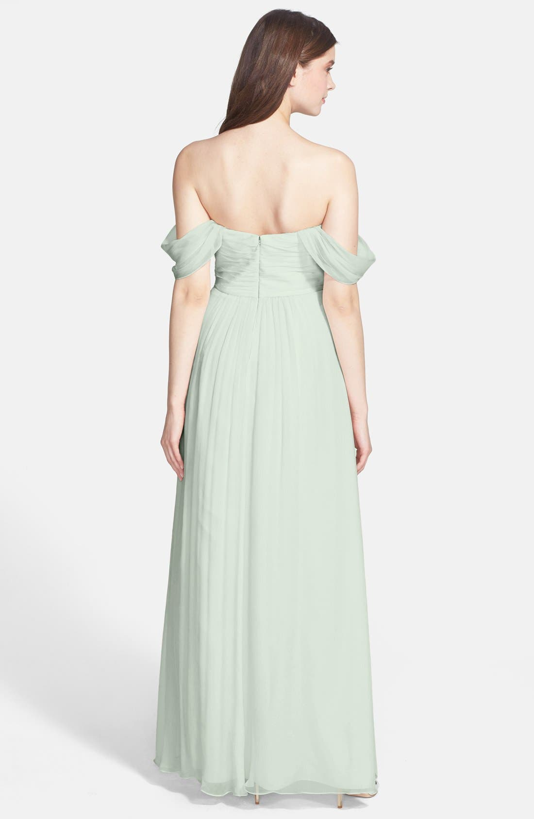 Convertible Crinkled Silk Chiffon Gown,                             Alternate thumbnail 16, color,