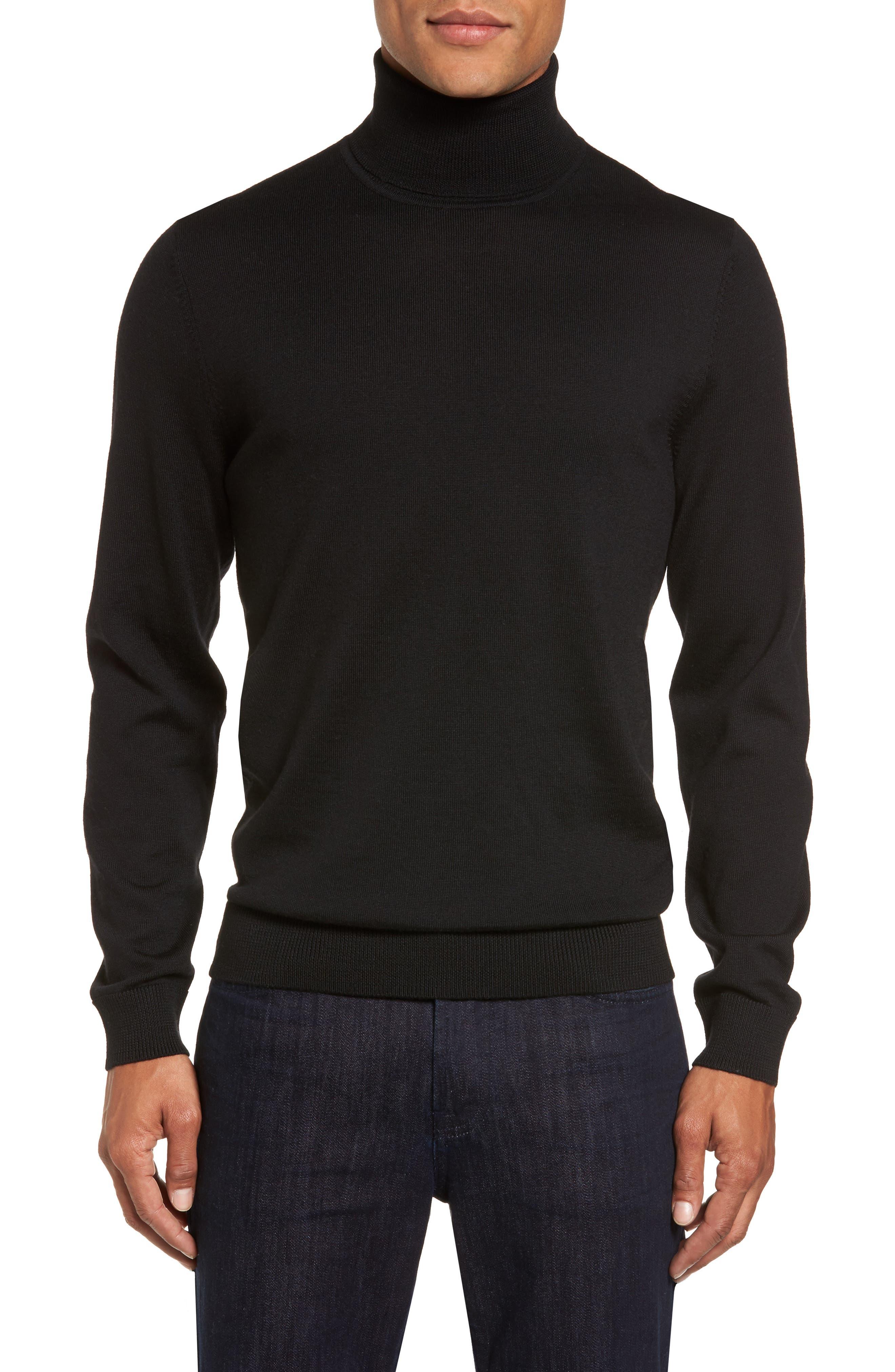 Merino Wool Turtleneck Sweater,                             Main thumbnail 1, color,                             BLACK CAVIAR