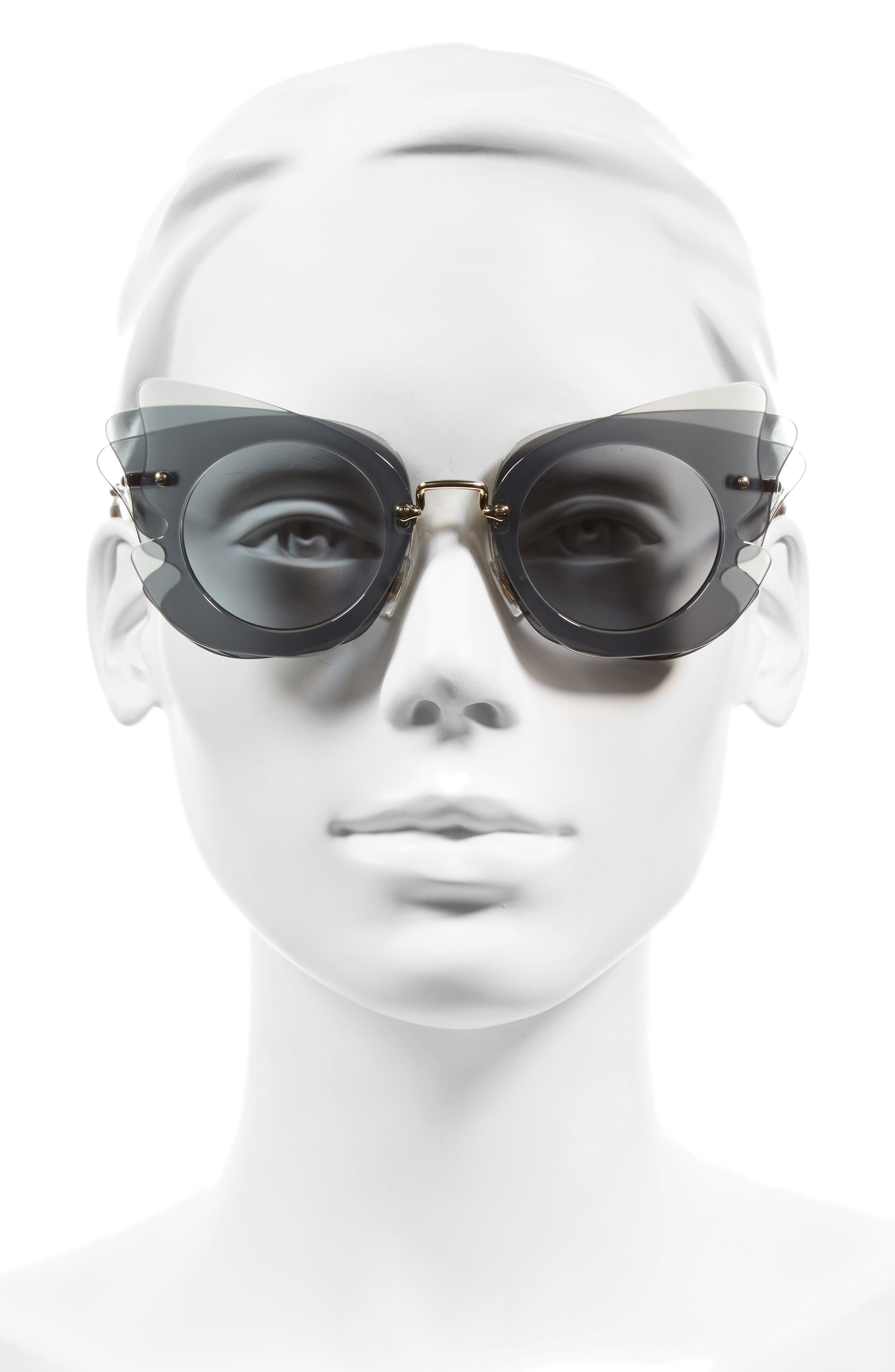 63mm Layered Butterfly Sunglasses,                             Alternate thumbnail 2, color,                             020