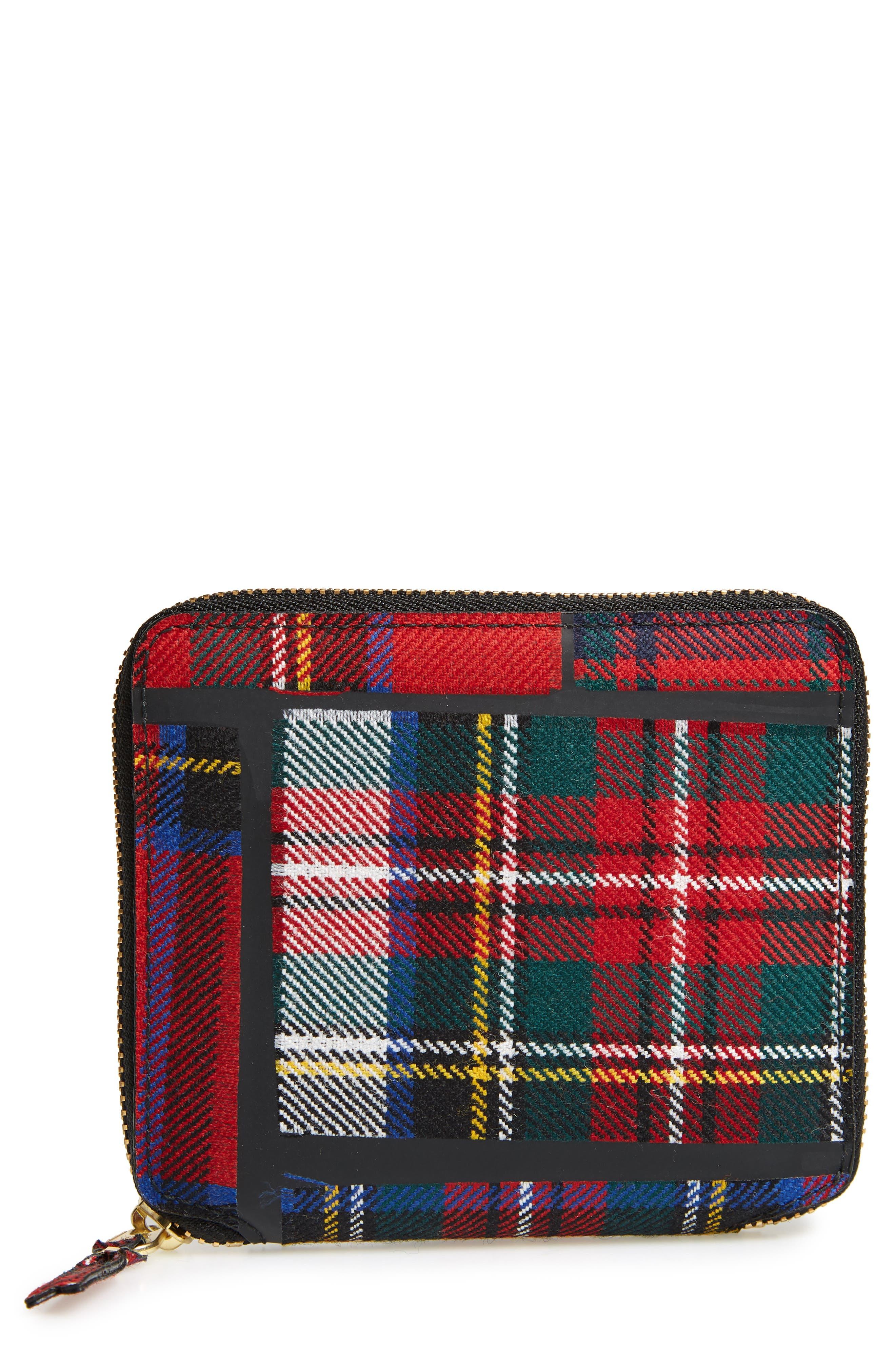 Tartan Patchwork Zip Wallet,                             Main thumbnail 1, color,                             RED