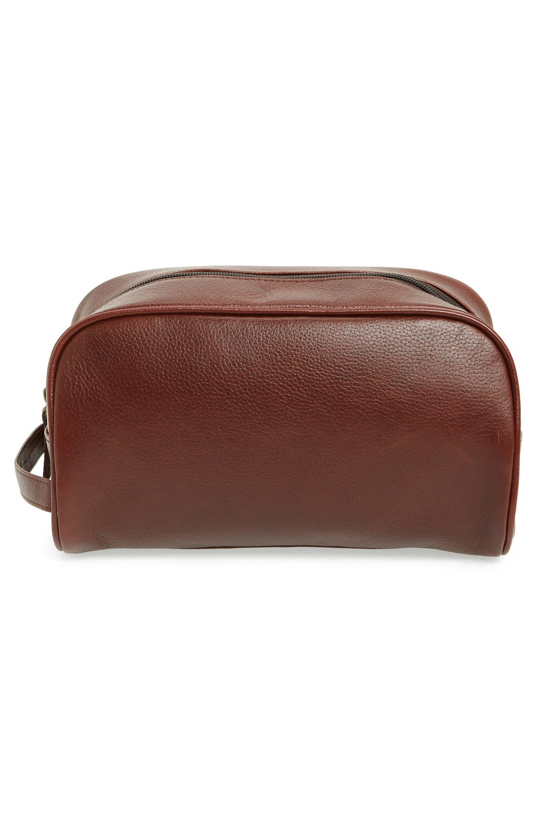 Leather Travel Kit,                             Alternate thumbnail 4, color,                             DARK BROWN