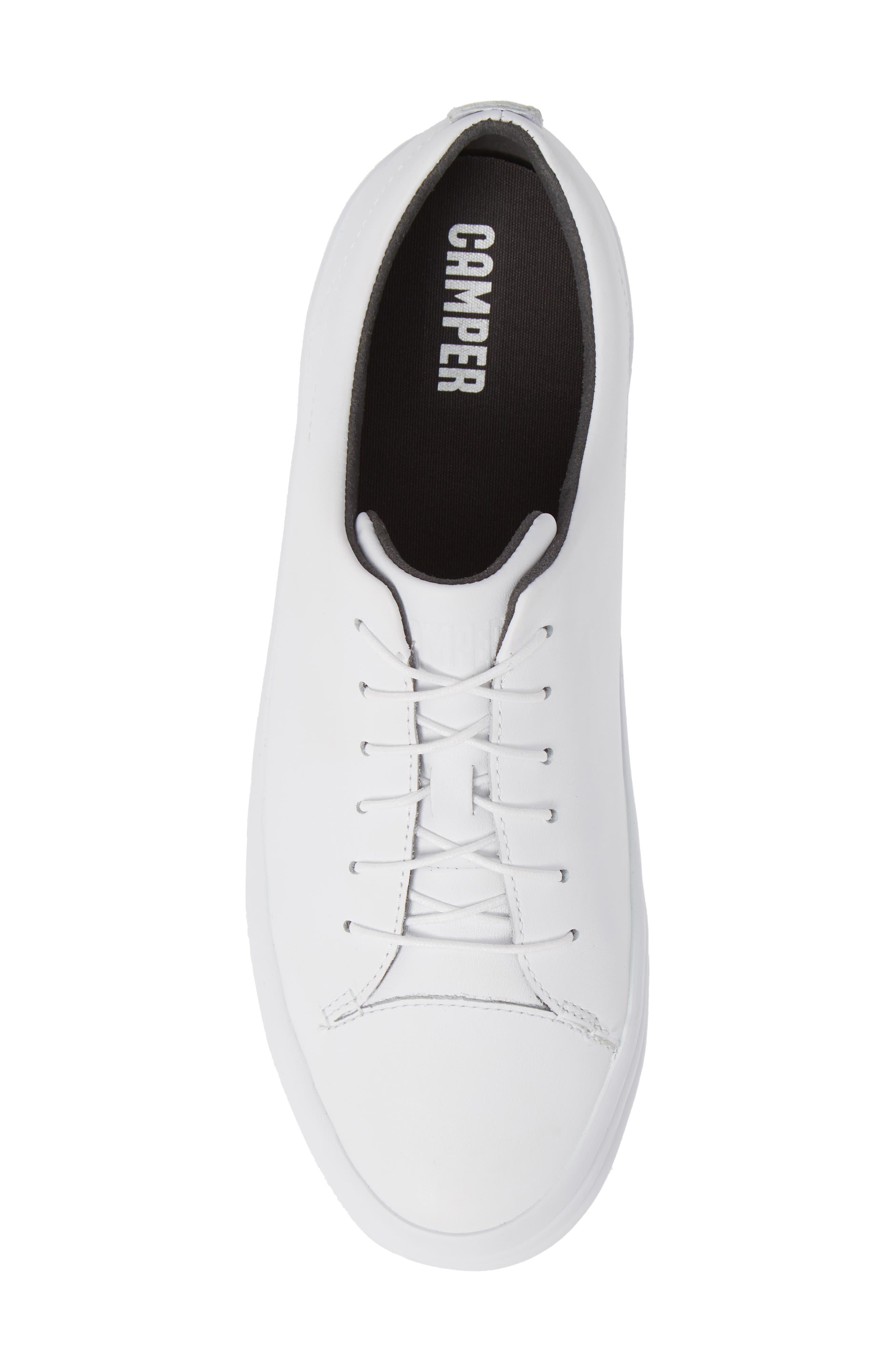 Hoops Sneaker,                             Alternate thumbnail 5, color,                             WHITE LEATHER
