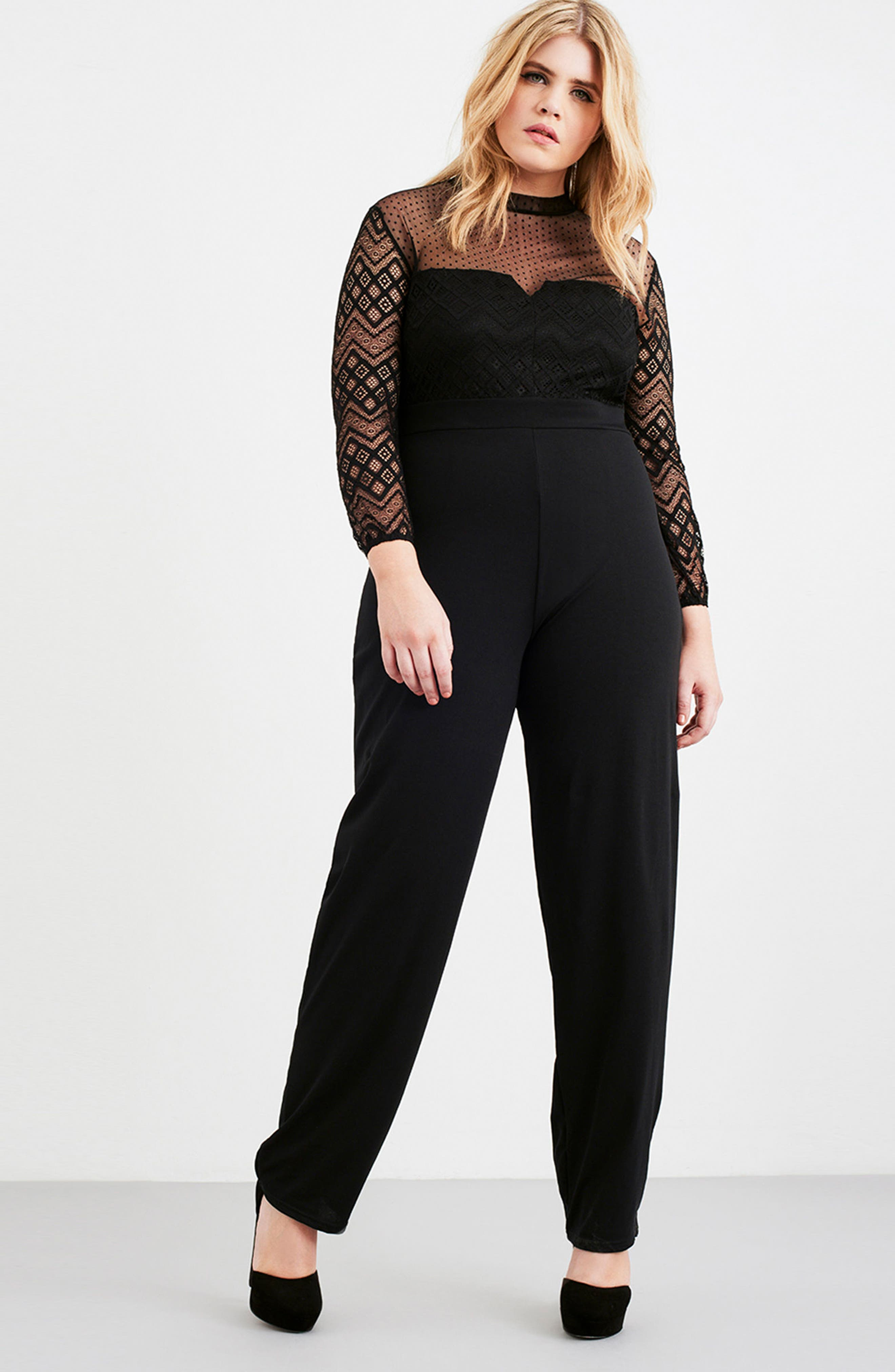 Lace Overlay Jumpsuit,                             Alternate thumbnail 7, color,