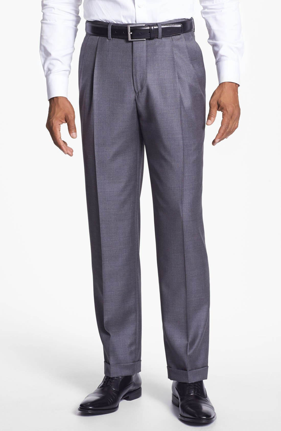 'Luxury Serge' Double Pleated Wool Trousers,                             Main thumbnail 1, color,                             MED GREY