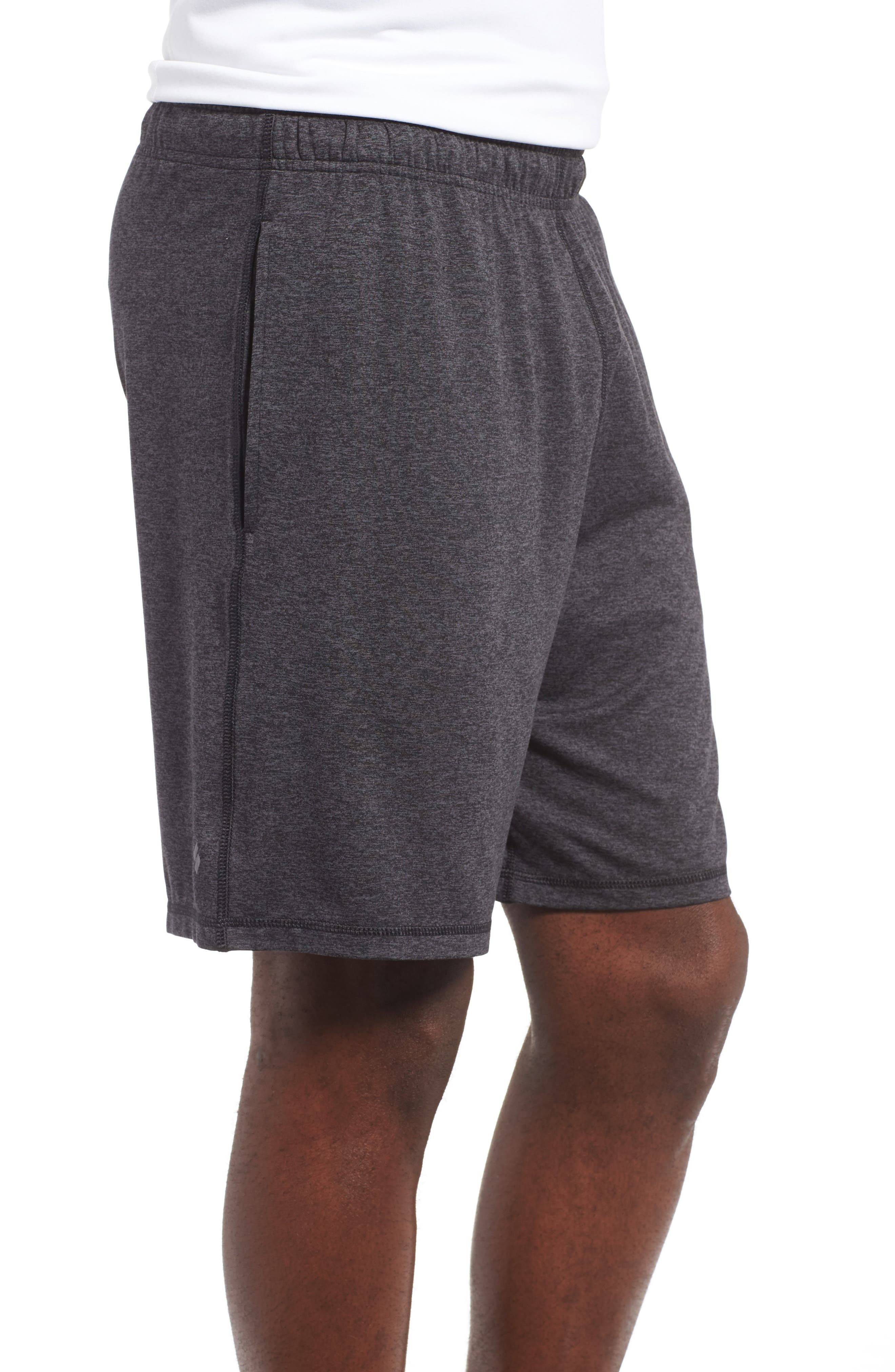 'Go To' Moisture Wicking Stretch Shorts,                             Alternate thumbnail 3, color,                             HEATHER CHARCOAL/ BLACK