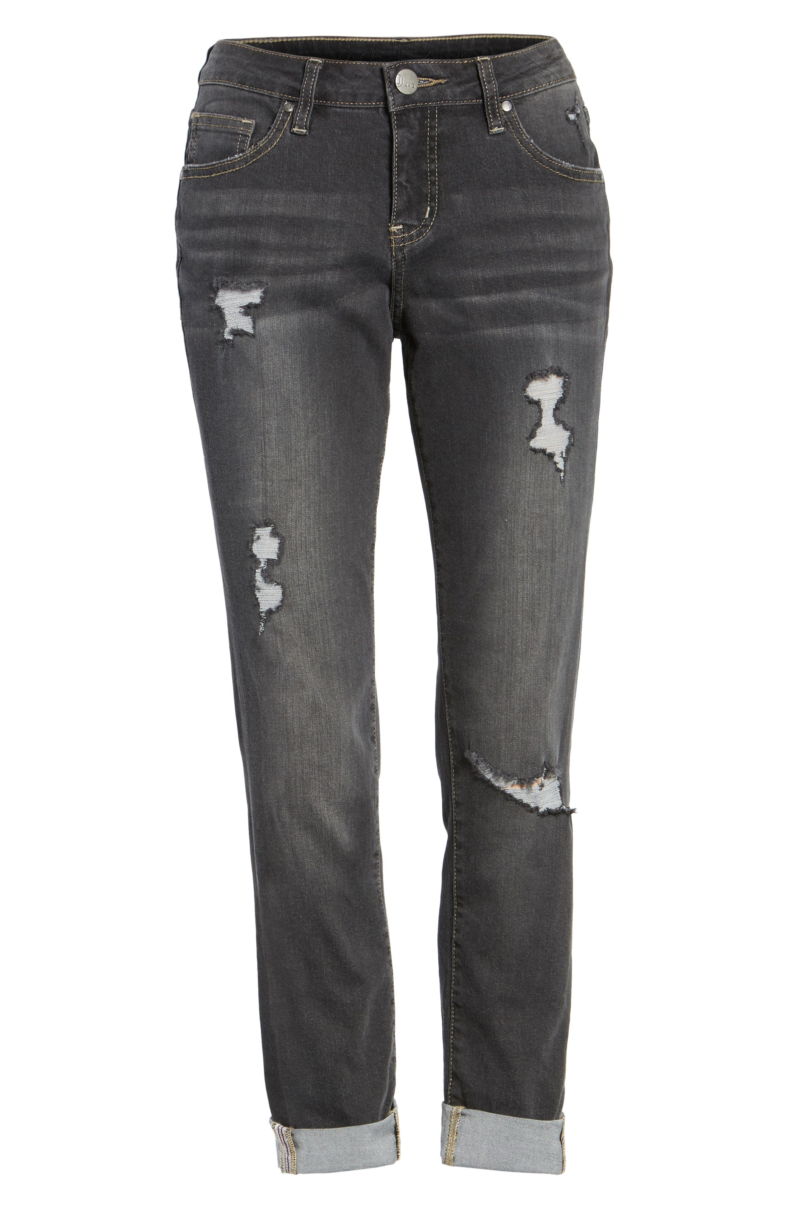 Carter Cuffed Girlfriend Jeans,                             Alternate thumbnail 6, color,                             DARK GREY