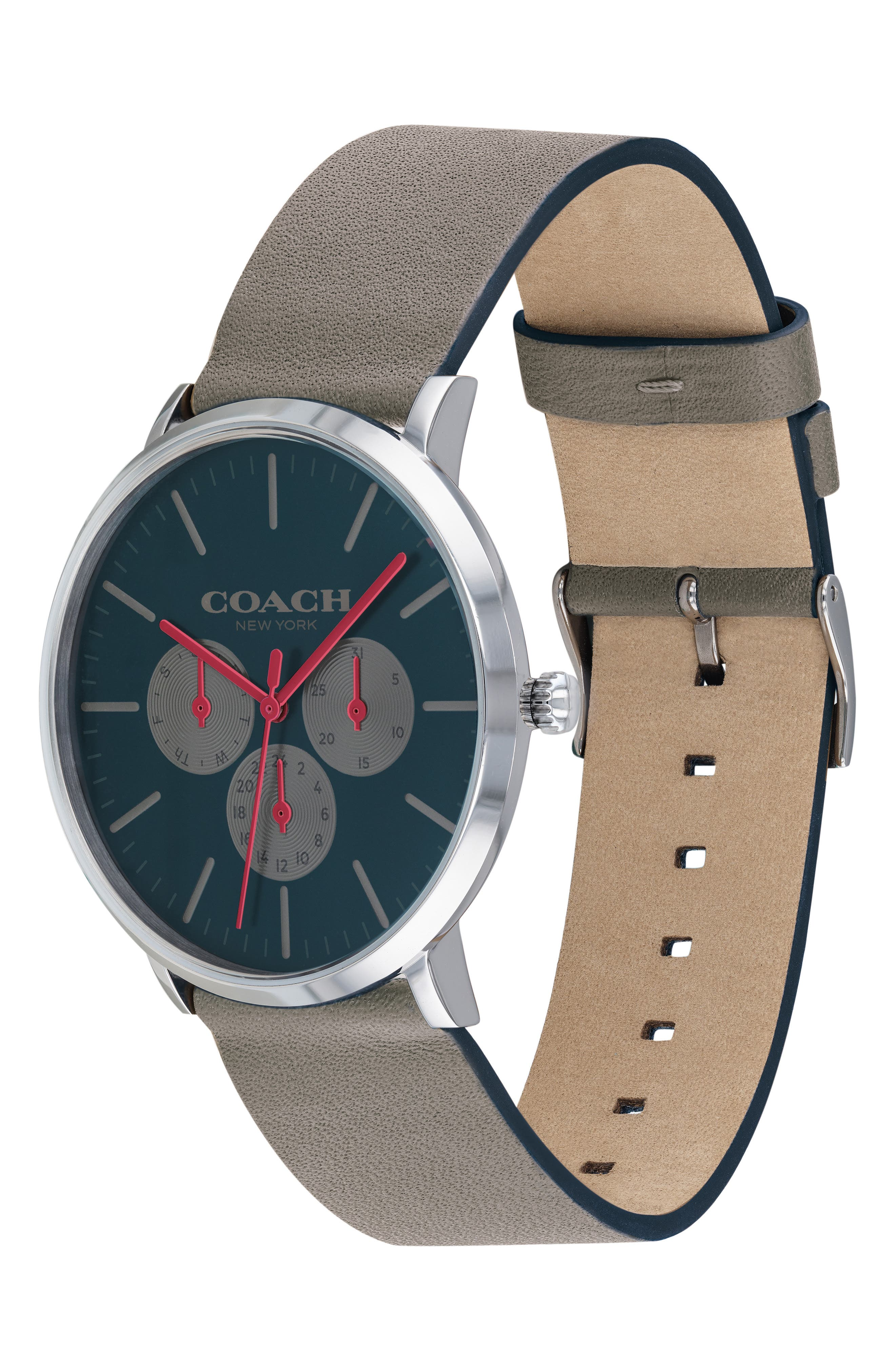 Varick Multifunction Leather Strap Watch, 40mm,                             Alternate thumbnail 3, color,                             GREY / SILVER/ GREEN