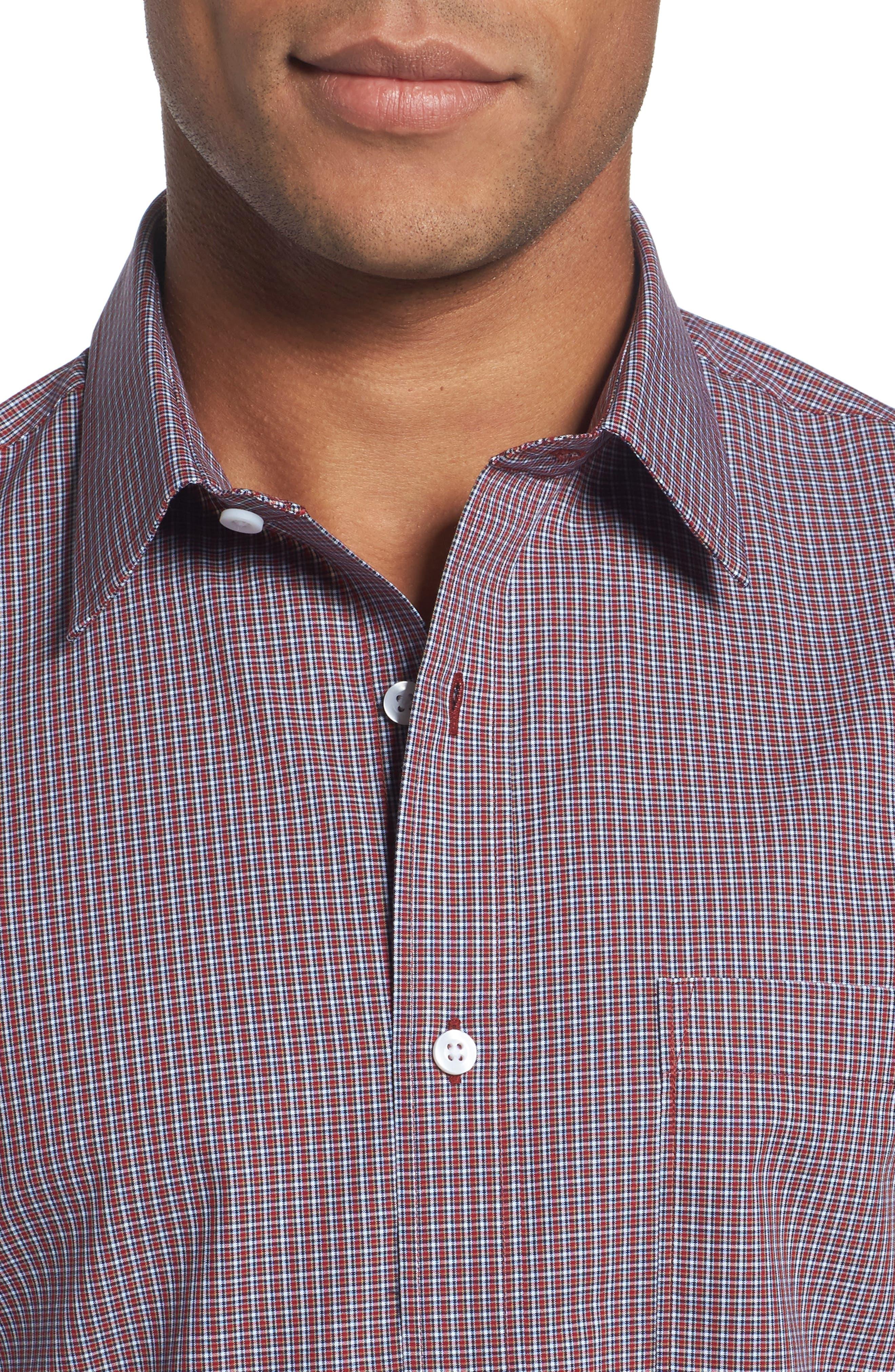 Trim Fit Non-Iron Mini Check Sport Shirt,                             Alternate thumbnail 4, color,                             610