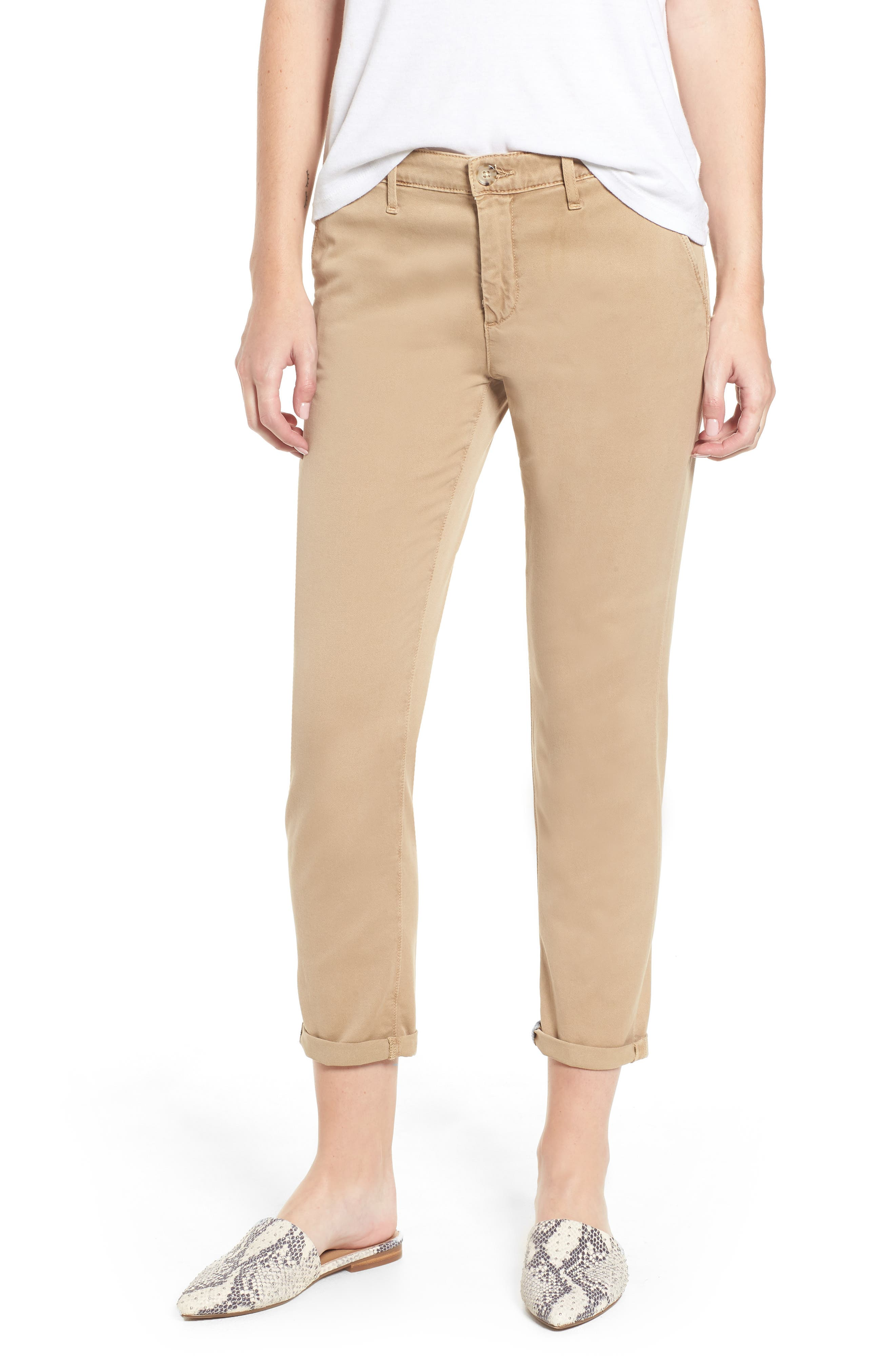 Caden Crop Twill Trousers,                             Main thumbnail 1, color,                             SULFUR TOASTED