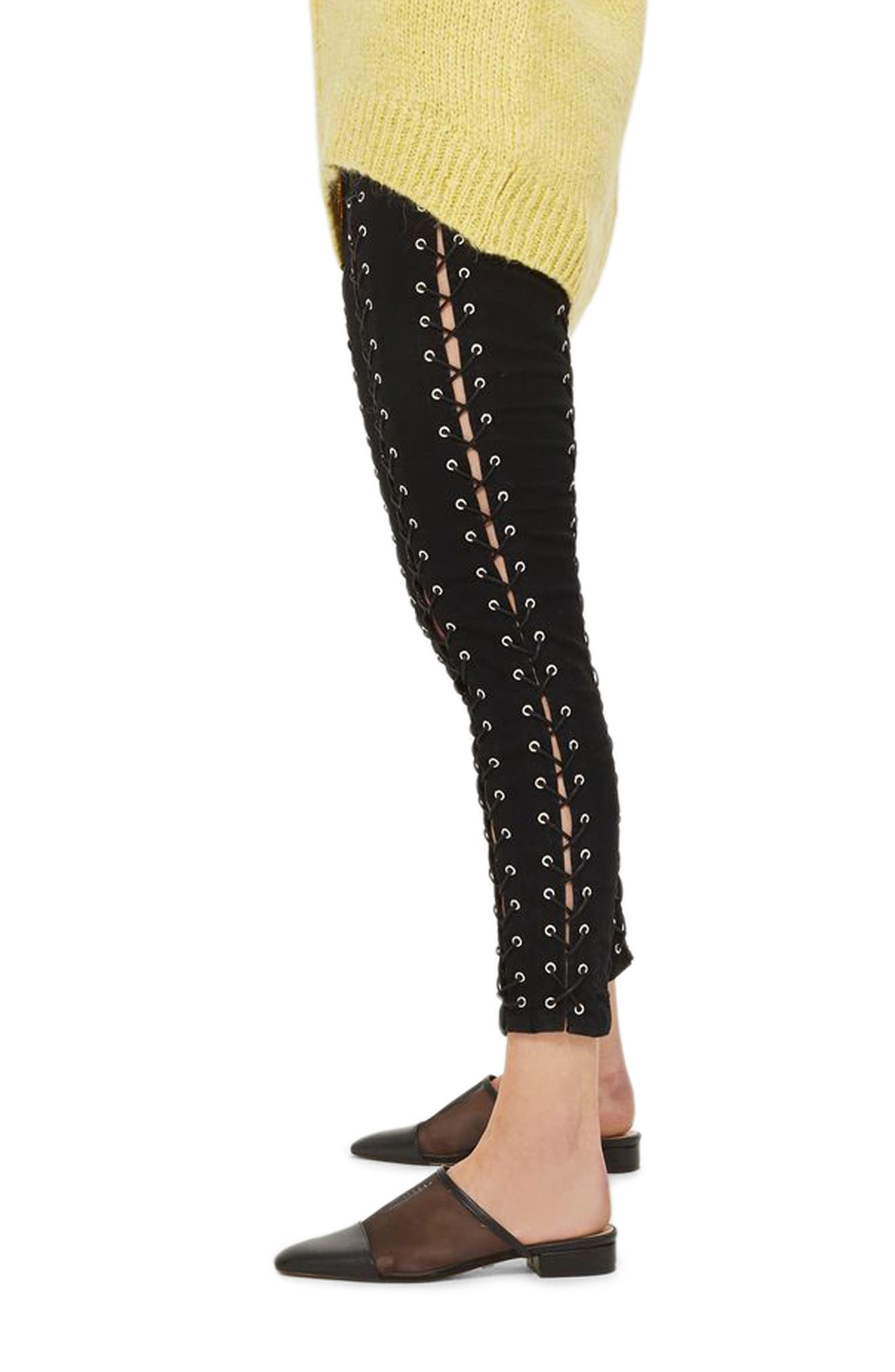 Jamie Extreme Lace-Up Skinny Jeans,                             Alternate thumbnail 3, color,                             001