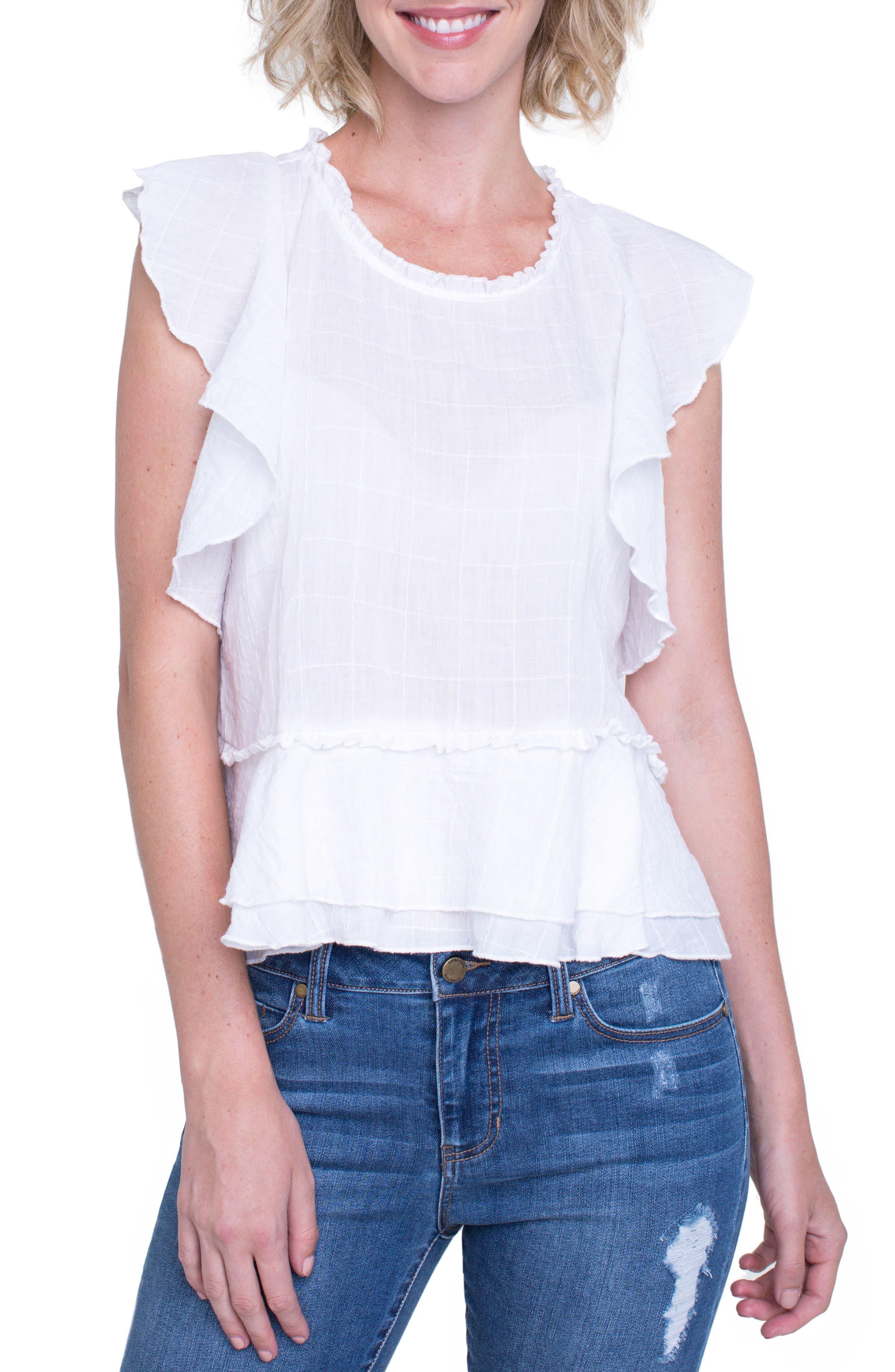 Ruffle Cotton Blend Top,                         Main,                         color,