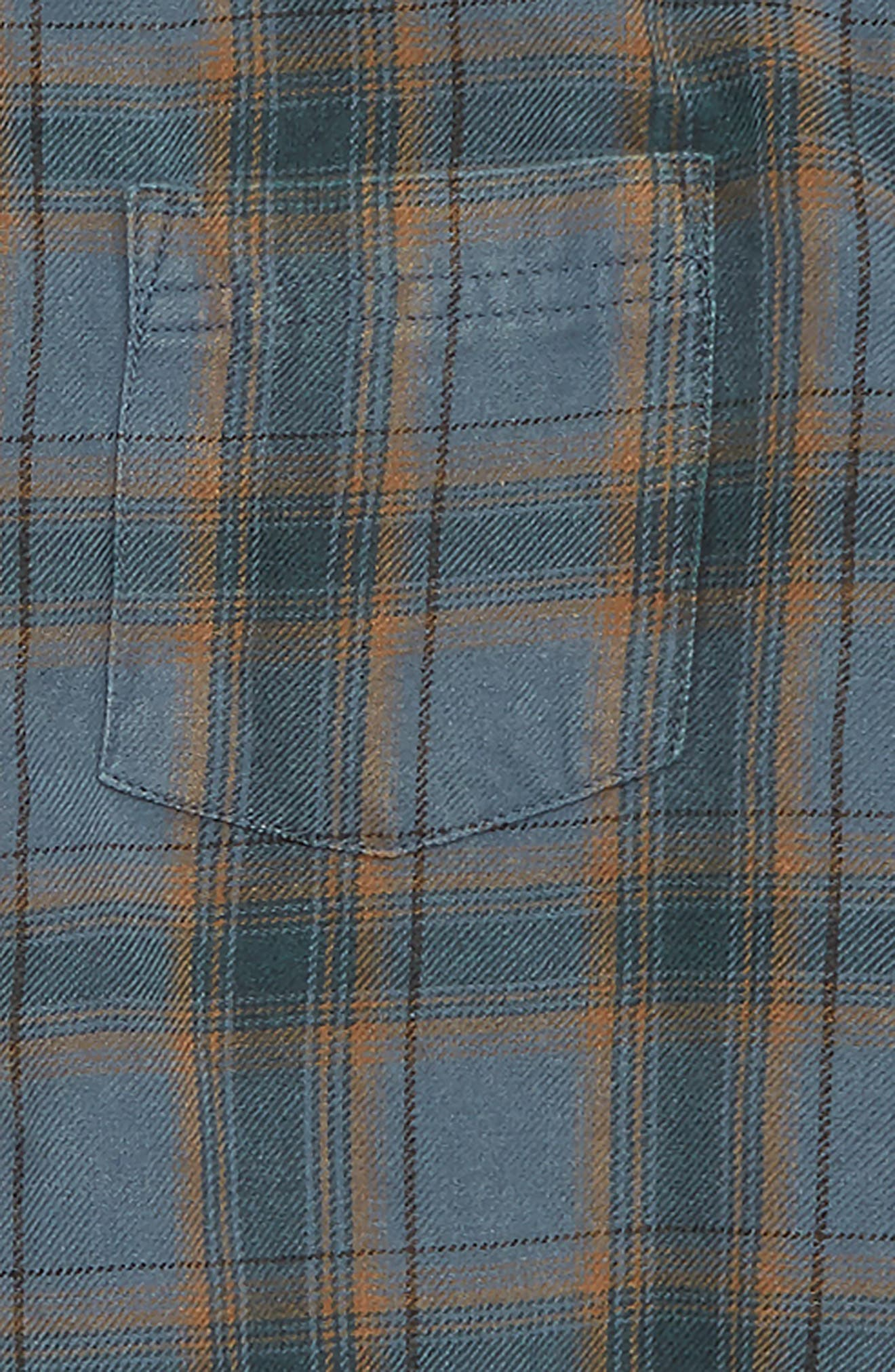 Washed Out Flannel Shirt,                             Alternate thumbnail 2, color,                             BLUE CHINOISE/ BROWN PLAID