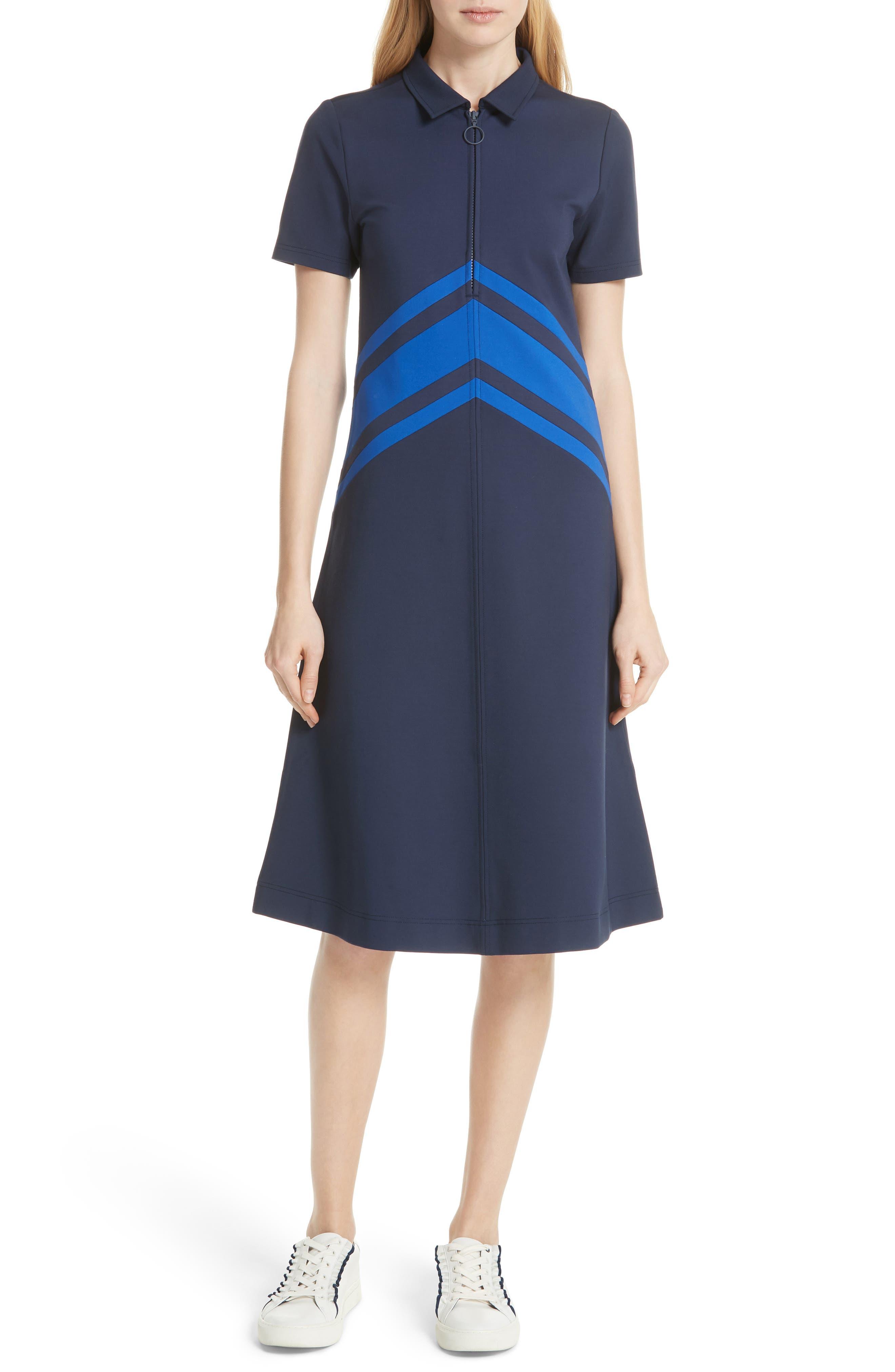 Tory Sport Chevron Tech Ponte Midi Dress, Blue