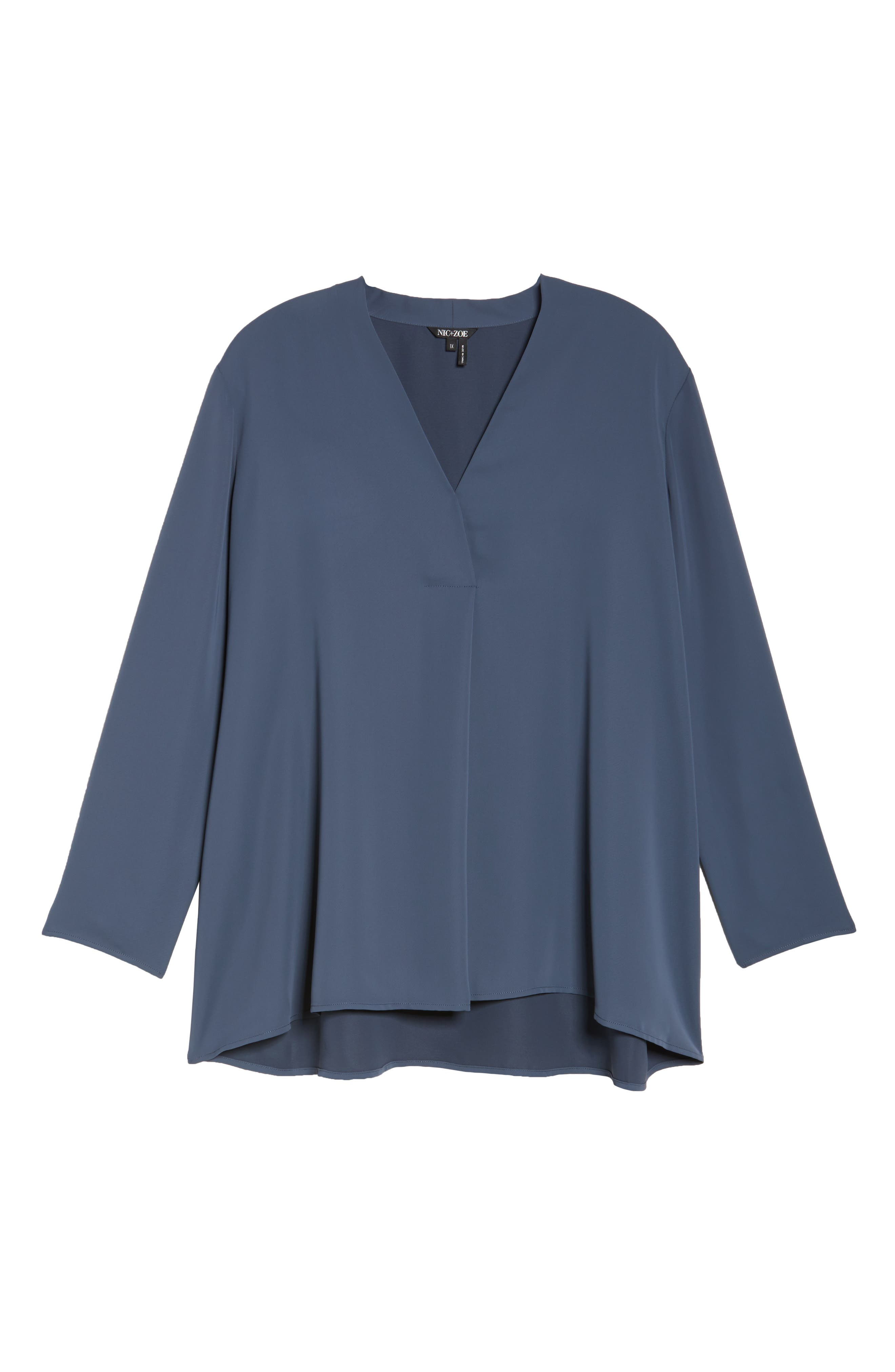 Majestic Matte Satin Blouse,                             Alternate thumbnail 6, color,                             SLATE