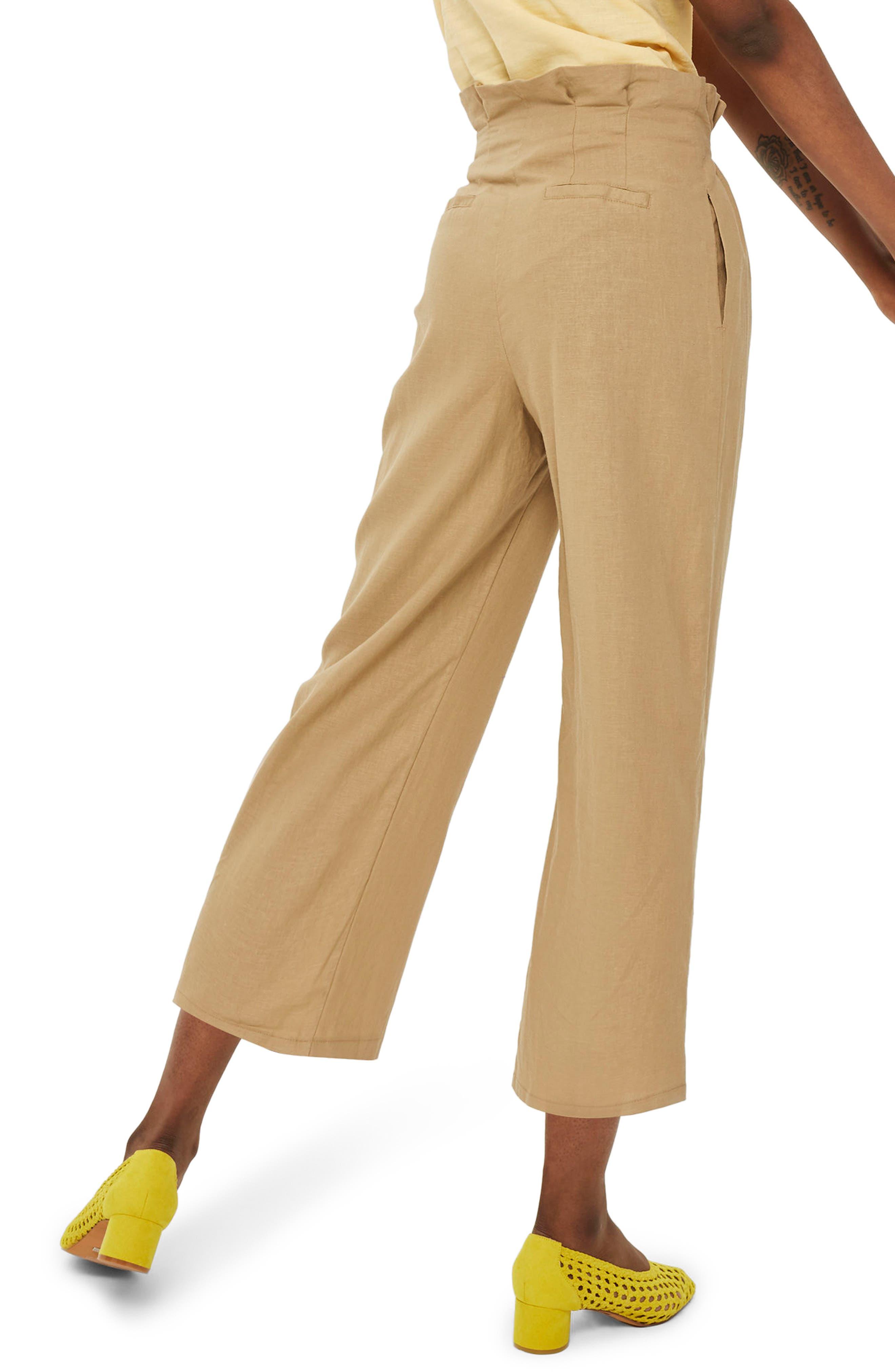Button Wide Leg Crop Trousers,                             Alternate thumbnail 2, color,                             250