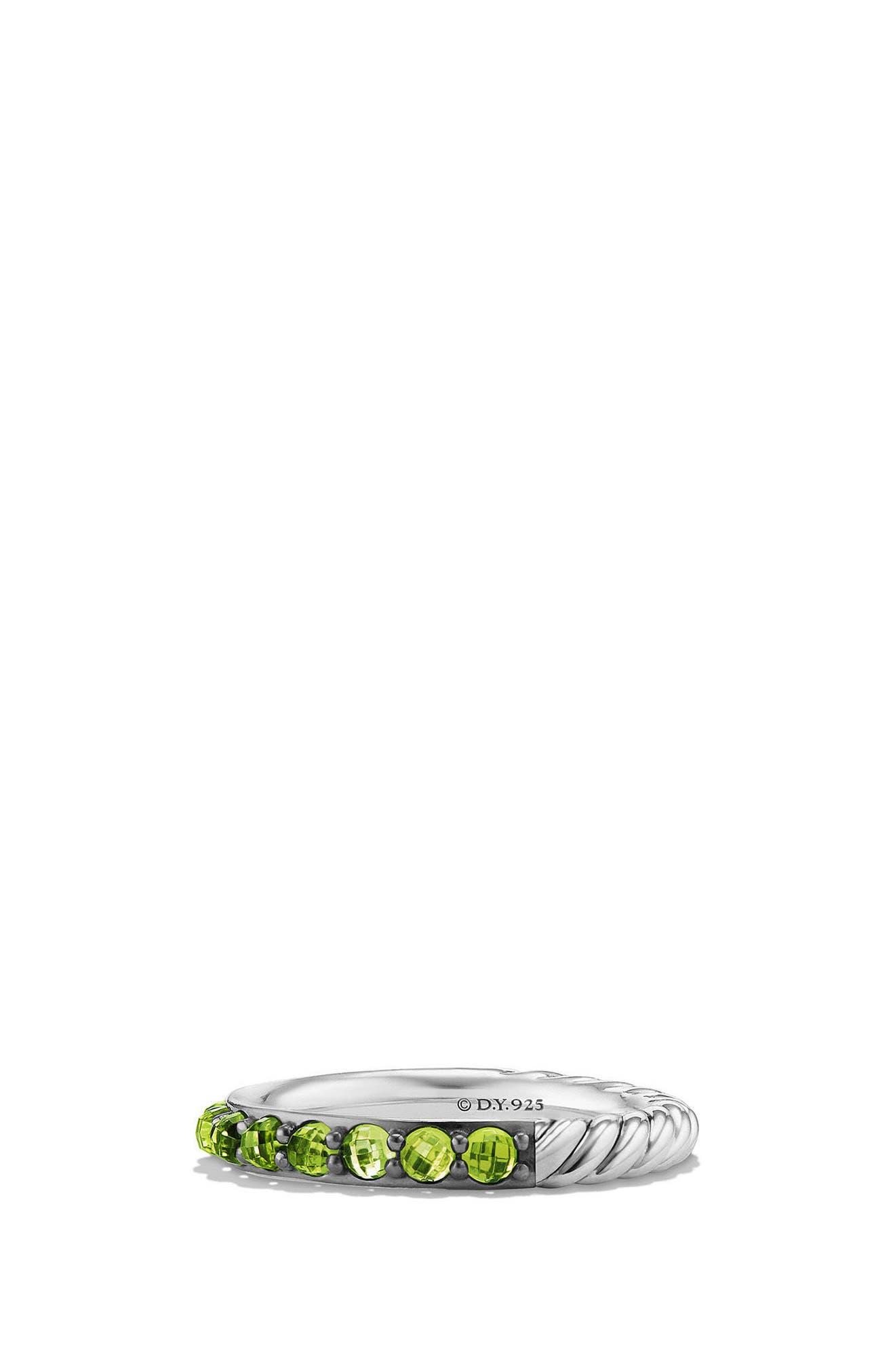 Cable Berries Semiprecious Stone Stack Ring,                             Main thumbnail 1, color,                             PERIDOT