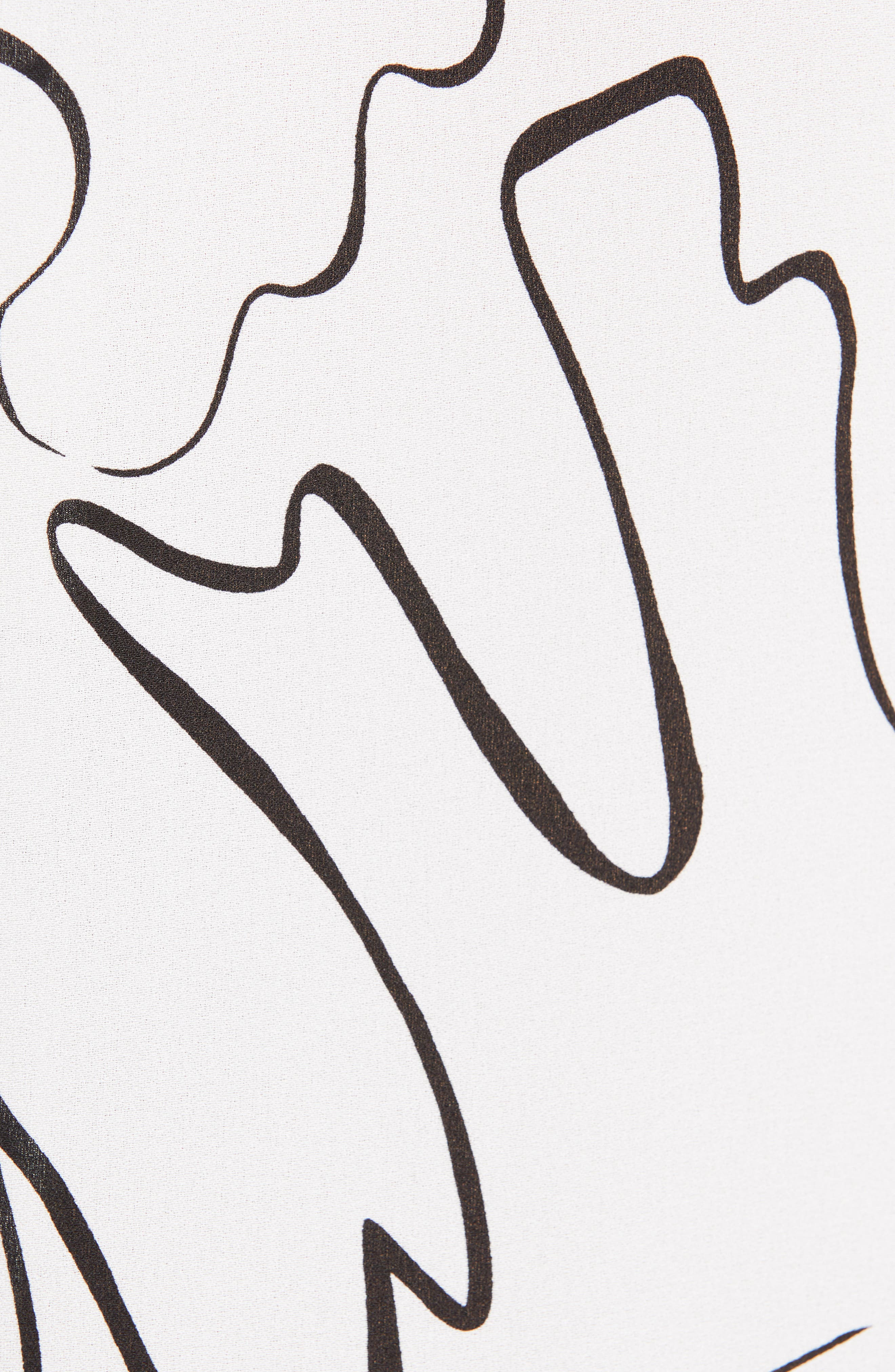 Zora Scribble Print Silk Blouse,                             Alternate thumbnail 5, color,                             CLOUD MULTI
