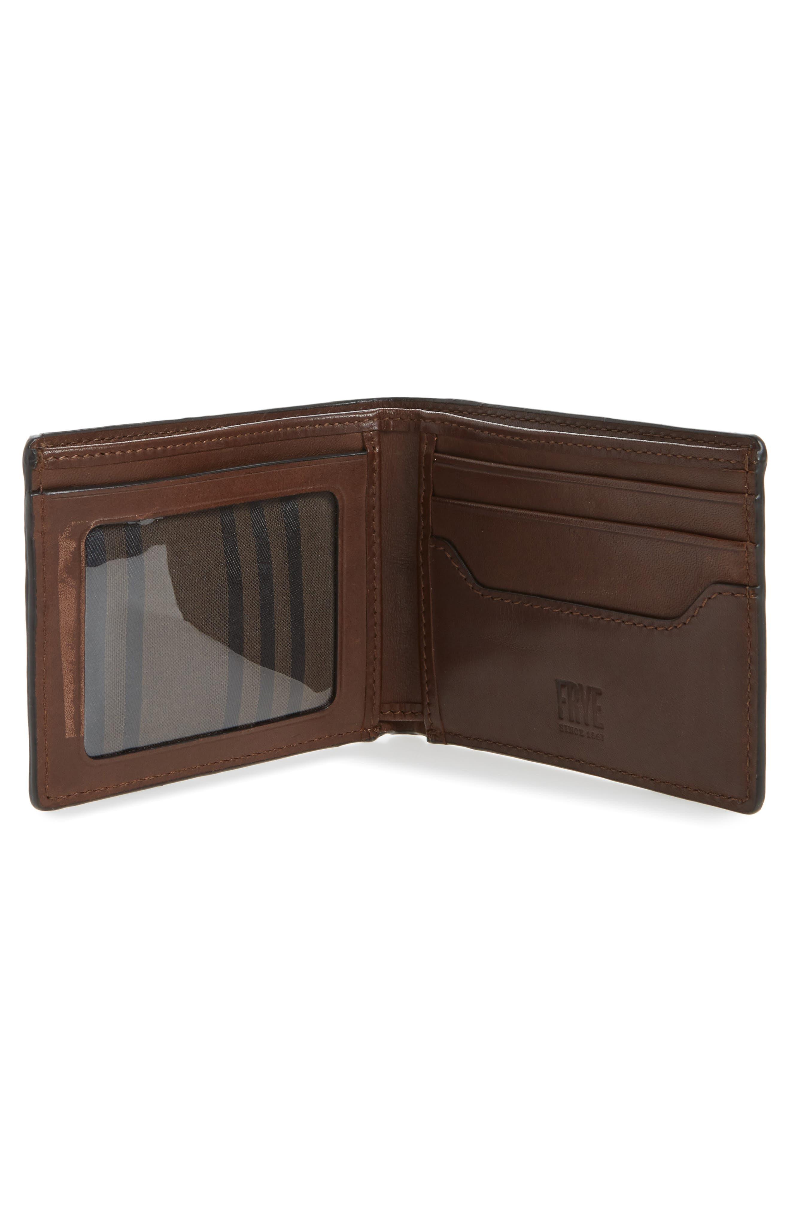 Logan Leather Wallet,                             Alternate thumbnail 2, color,                             DARK BROWN