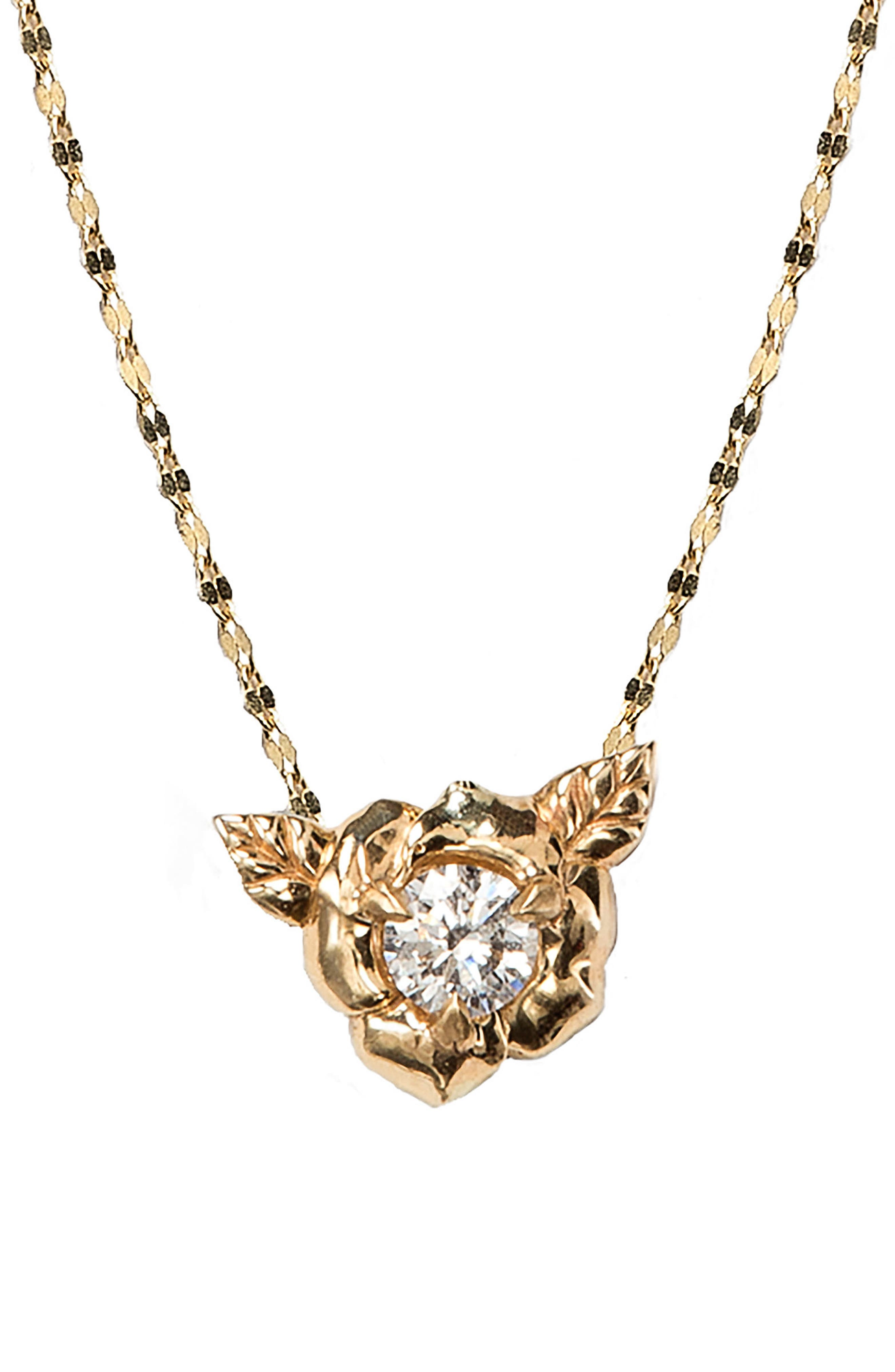 Little Rosebud Pendant Necklace,                             Main thumbnail 1, color,                             YELLOW GOLD