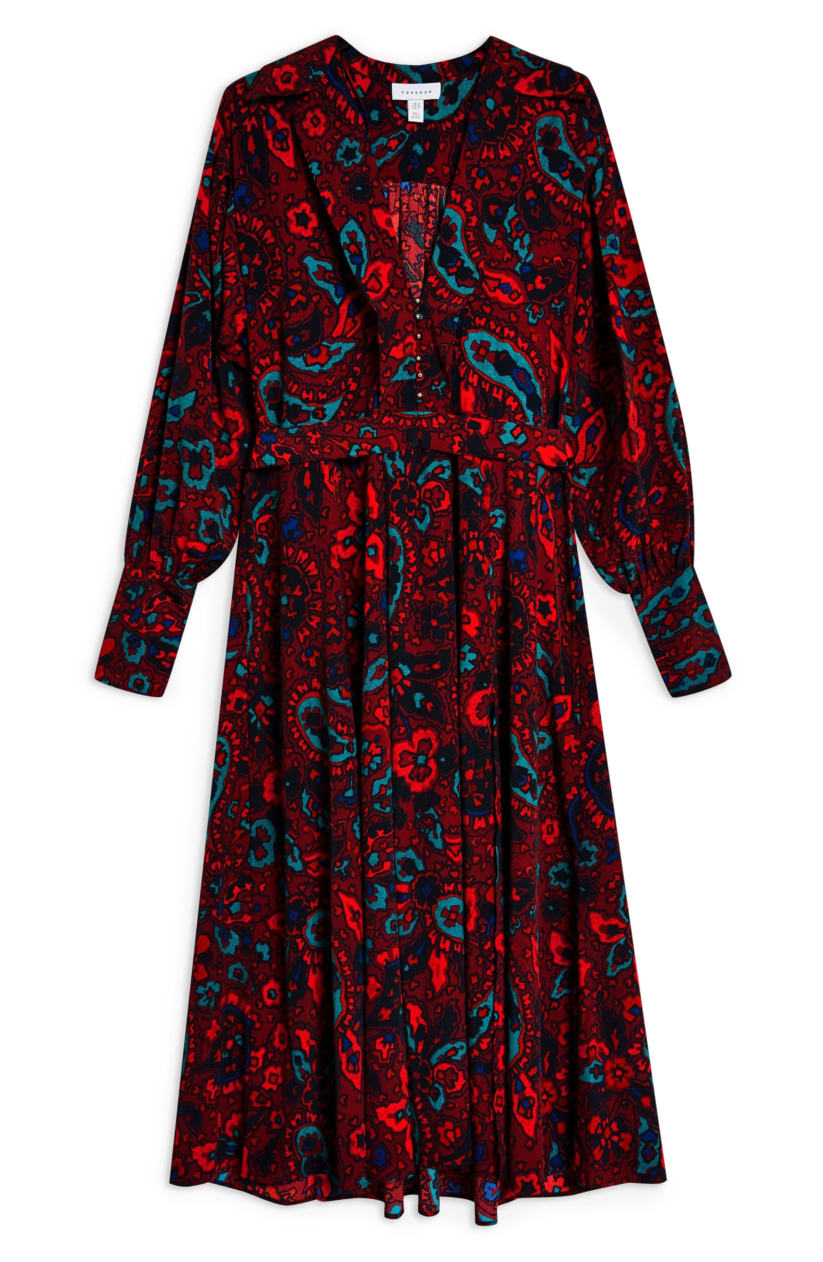 Paisley Oversize Shirtdress,                             Alternate thumbnail 4, color,                             RED MULTI
