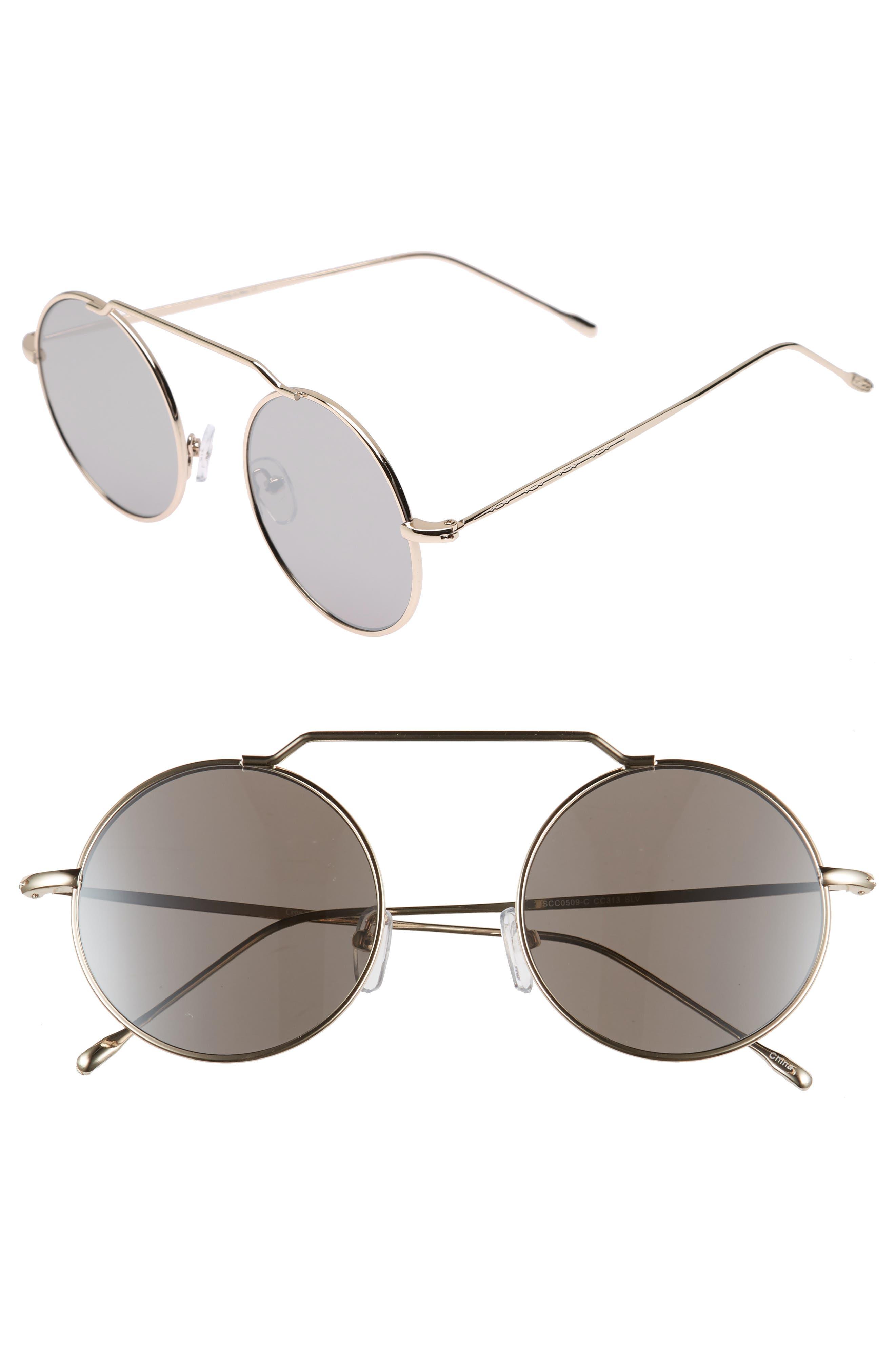 51mm Brow Bar Round Sunglasses,                             Main thumbnail 2, color,