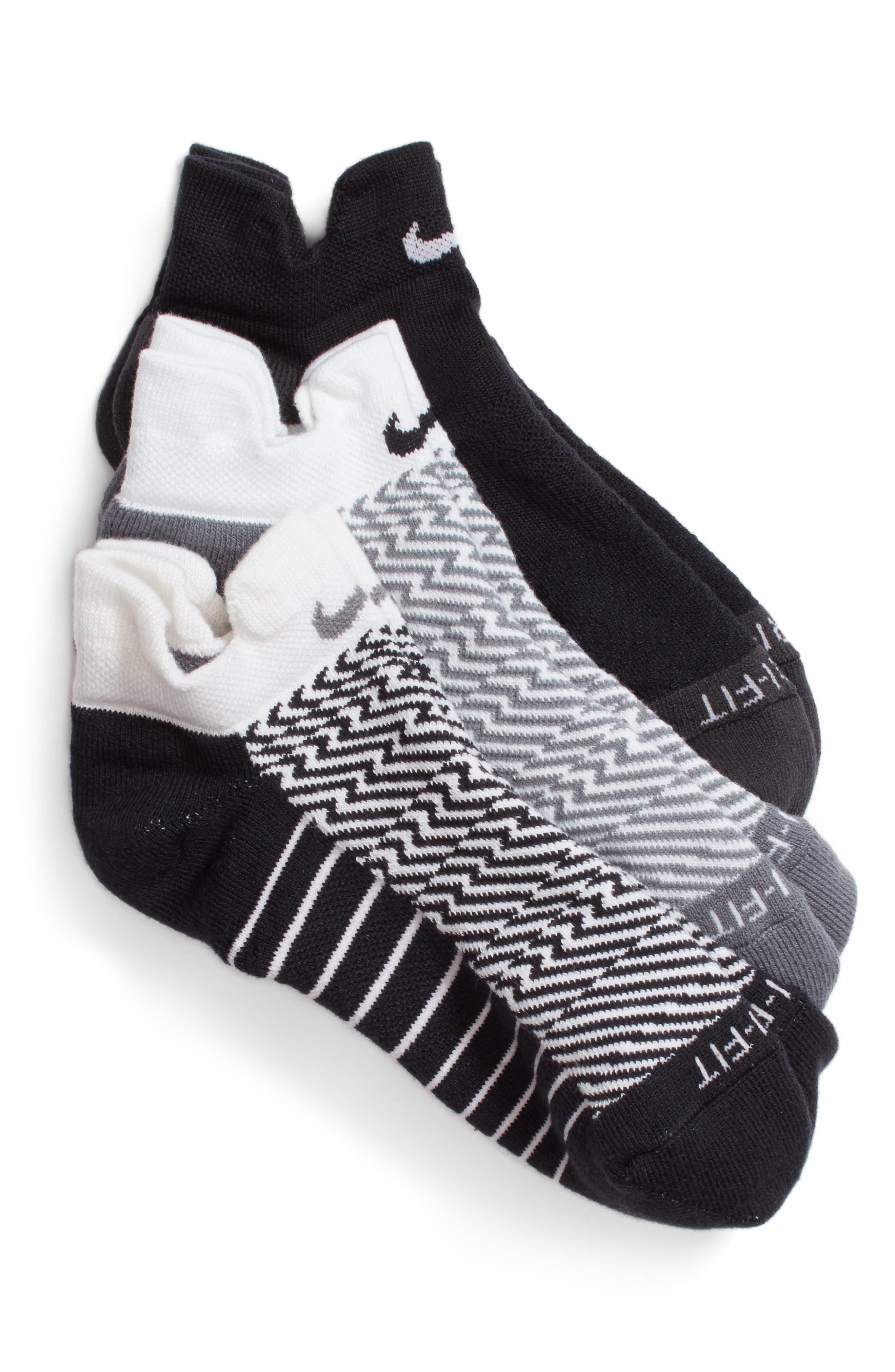 Elite 3-Pack Reflective Running Tab Socks,                         Main,                         color,