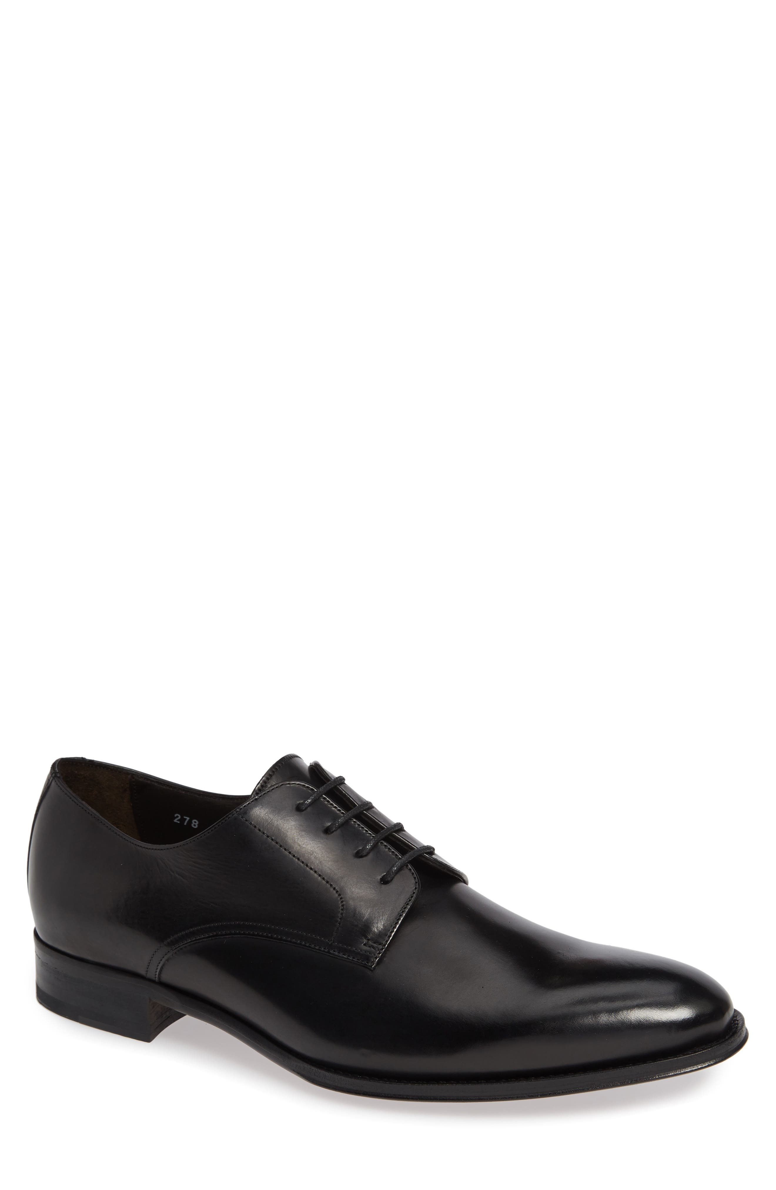 TO BOOT NEW YORK Belgrade Plain Toe Derby, Main, color, BLACK LEATHER