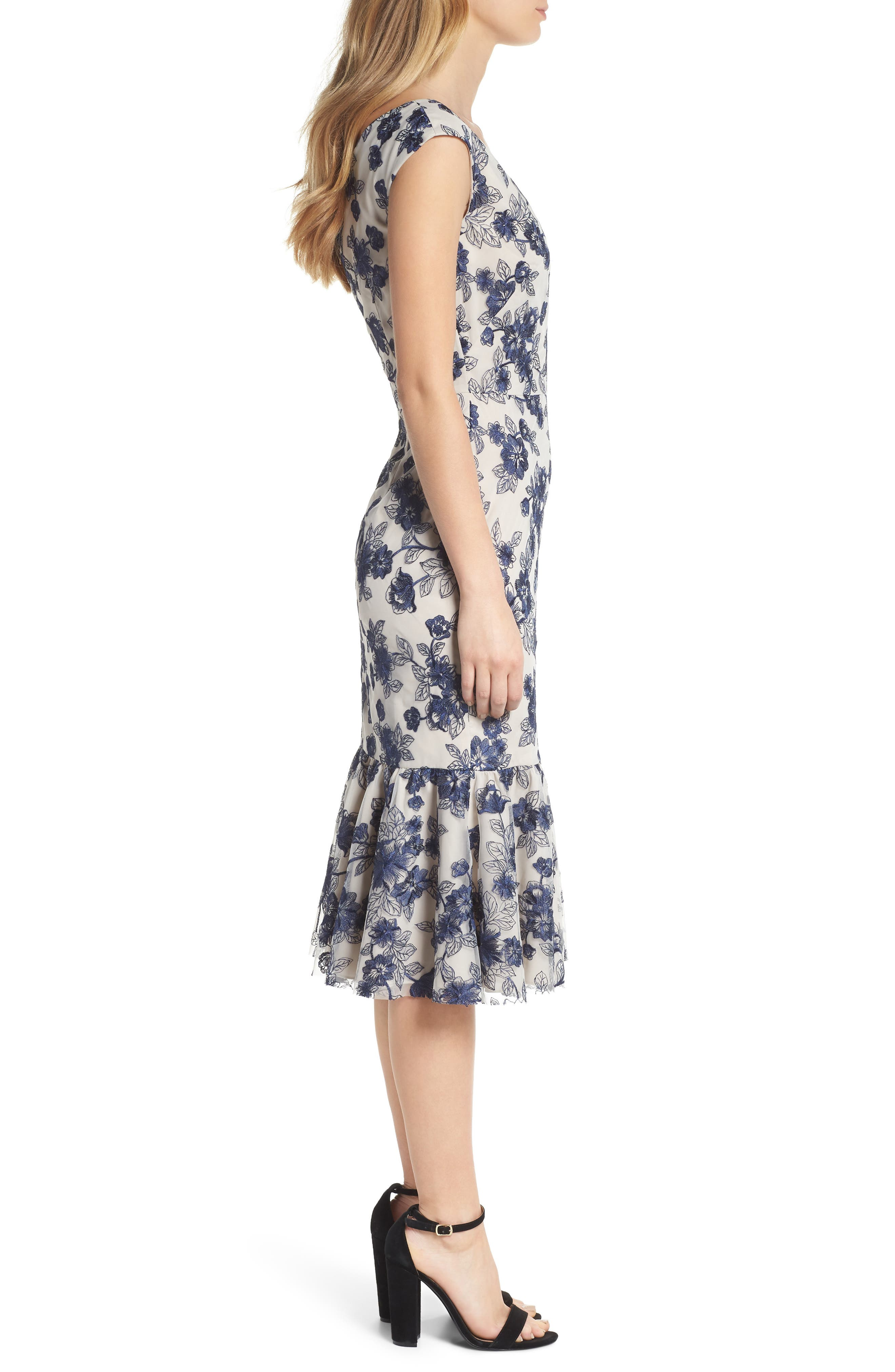 Rosemary Floral Embroidered Midi Dress,                             Alternate thumbnail 3, color,                             419