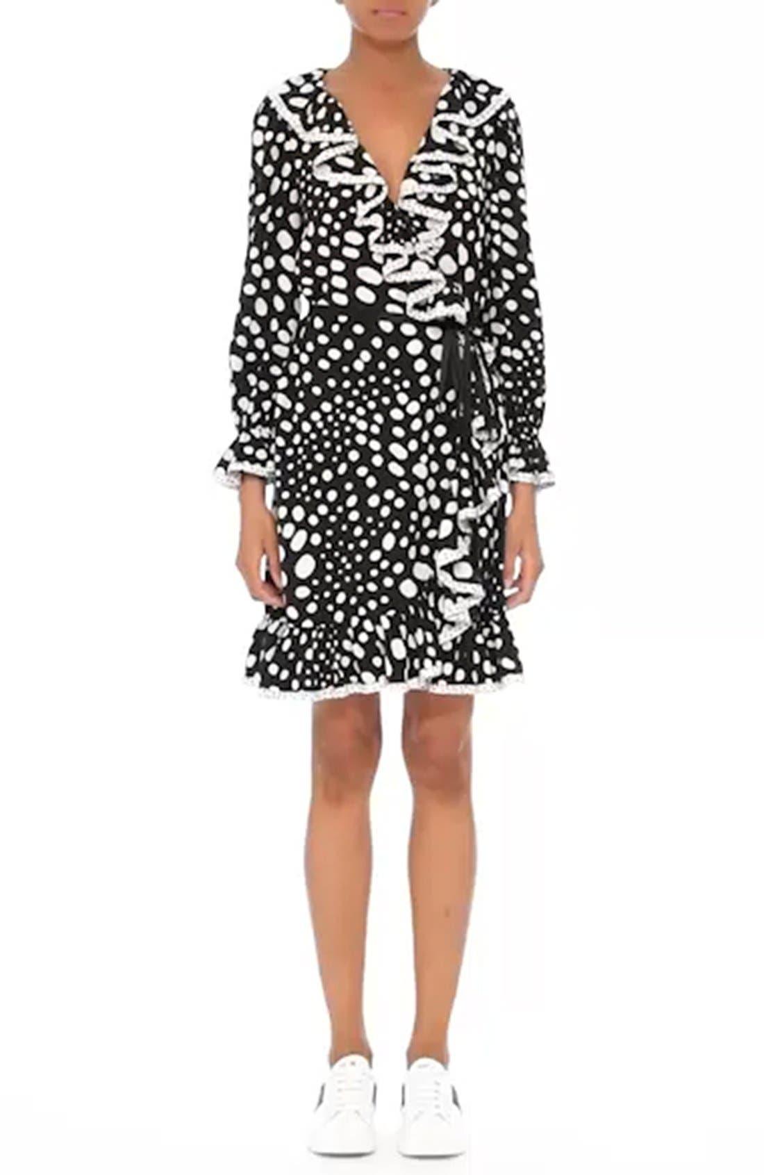 Polka Dot Ruffle Silk Wrap Dress,                             Alternate thumbnail 7, color,                             005